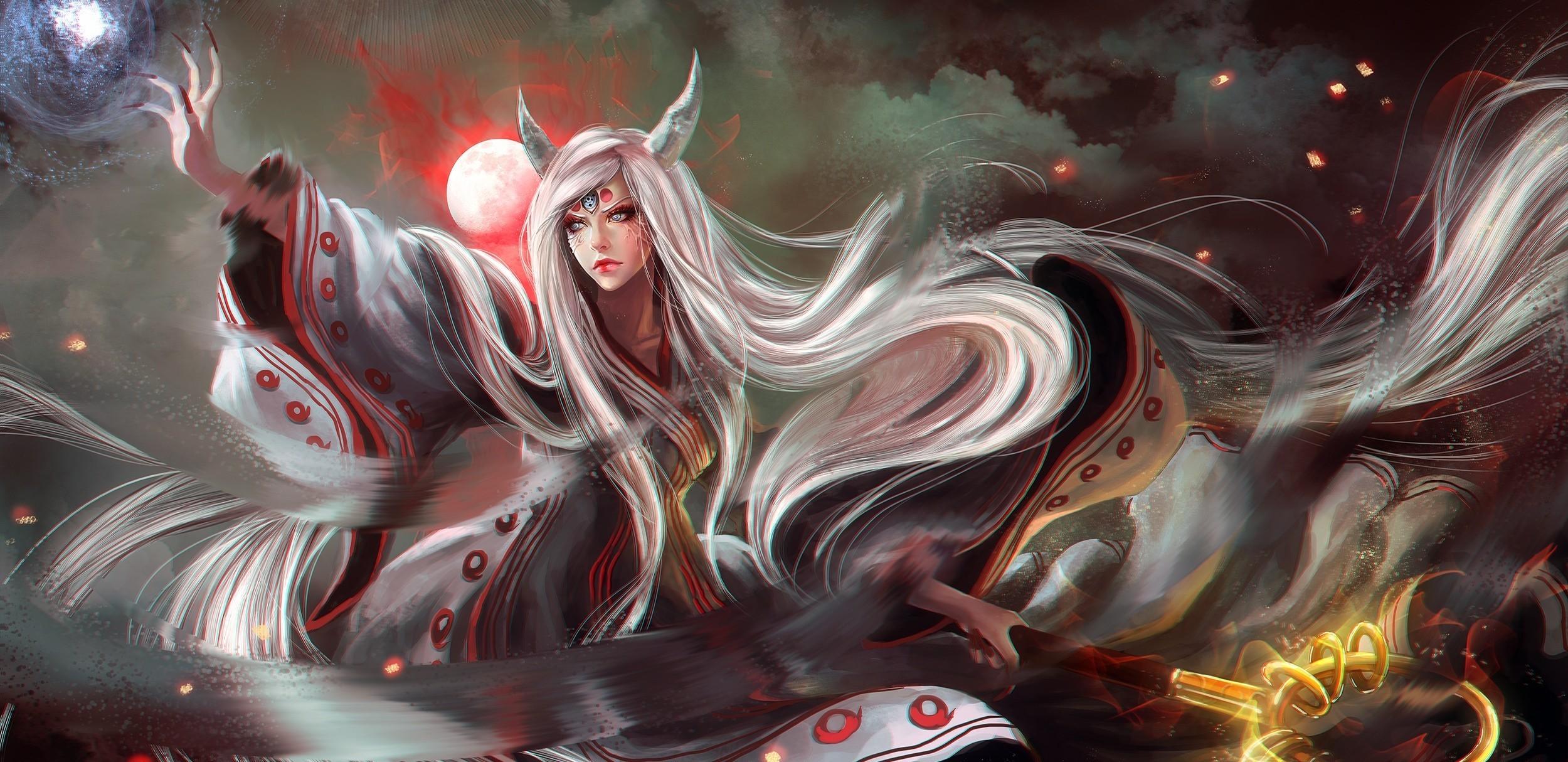 Papel de parede : Fantasia arte, Anime, Meninas anime, Naruto Shippuuden, Dragão, realista ...