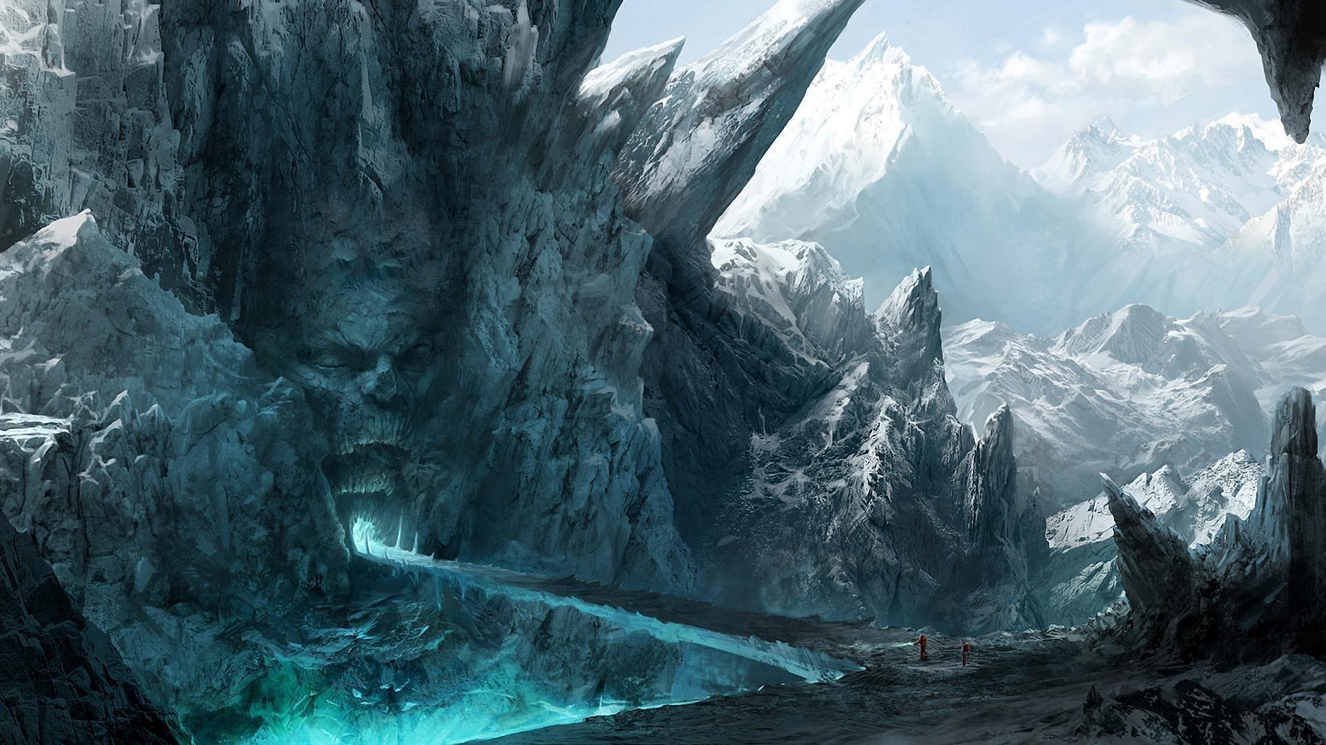wallpaper : fantasy art, artwork, ice, terrain, screenshot, computer