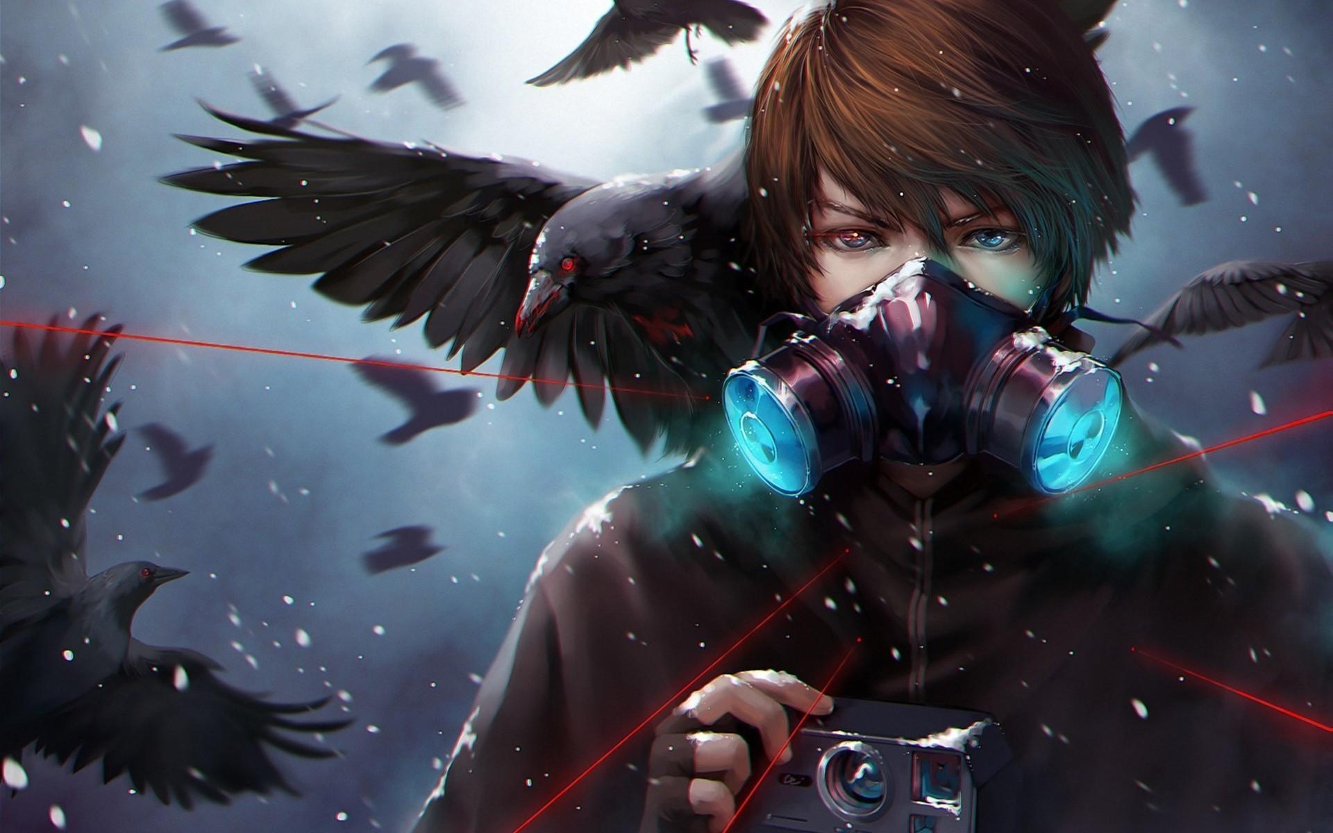 fantasy art dark anime gas masks crow screenshot computer wallpaper fictional character 114242