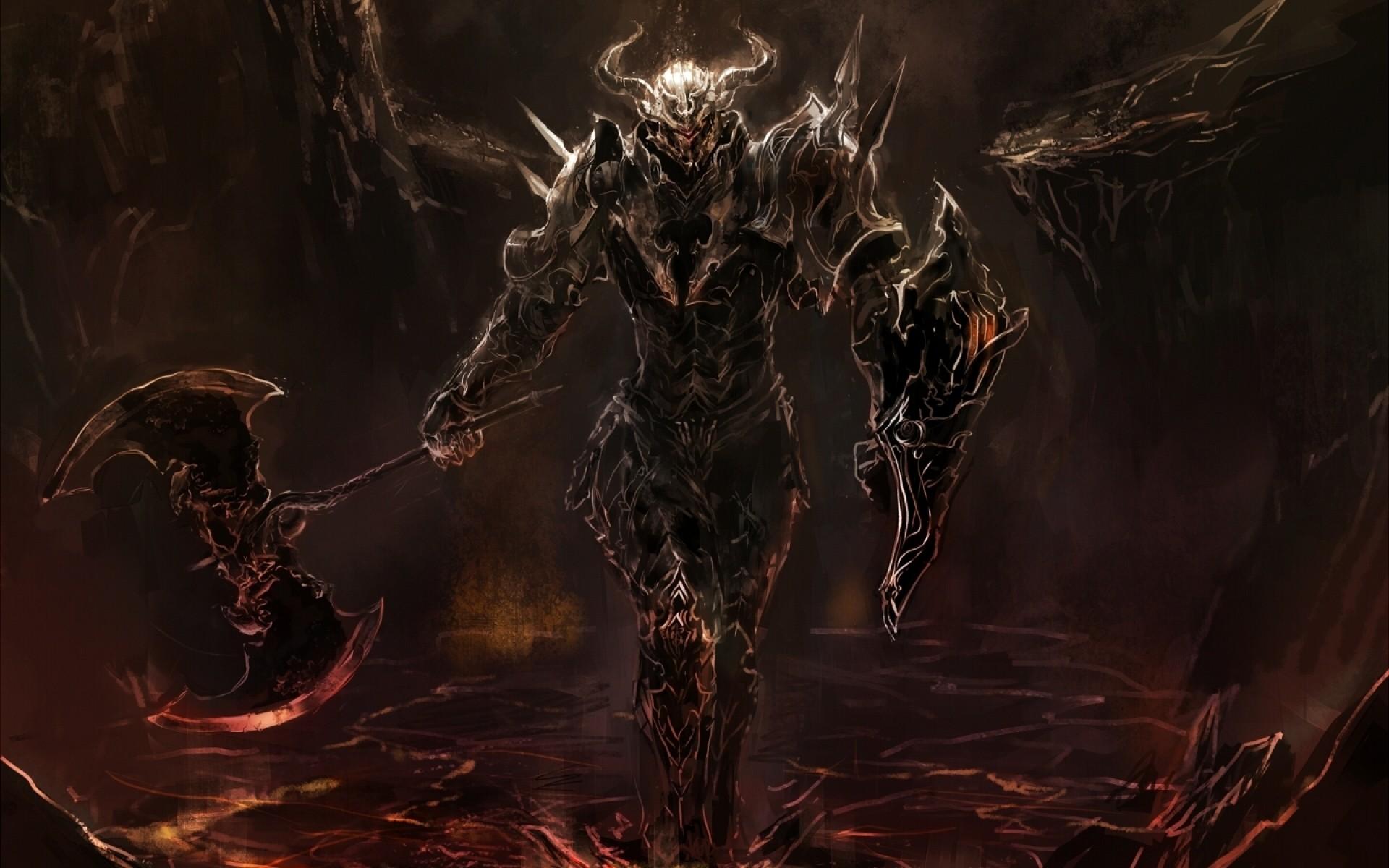 Fantasy Art Dark Knight Artwork Warrior Death Demon Lava Medieval Mythology Darkness Screenshot Computer Wallpaper Fictional
