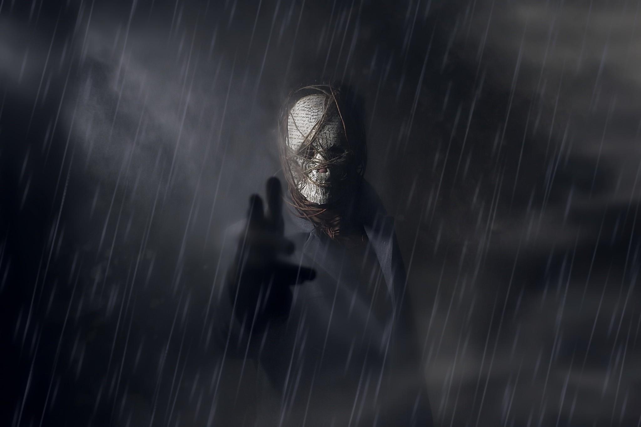 デスクトップ壁紙 ファンタジーアート ダーク 不気味な 雨