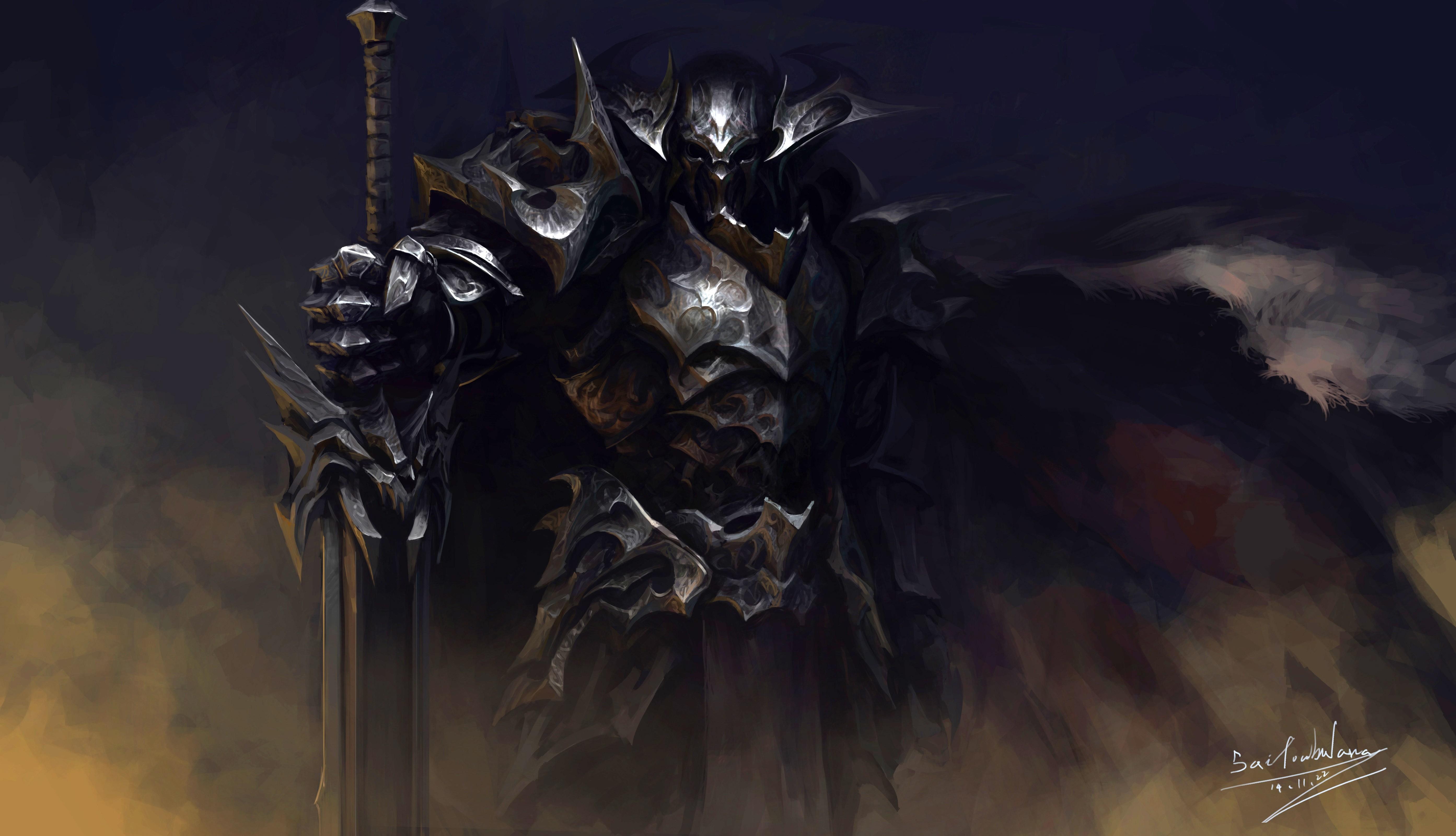 Fond d'écran : Art fantastique, Chevalier, Fond sombre, armure, mythologie, obscurité, capture d ...