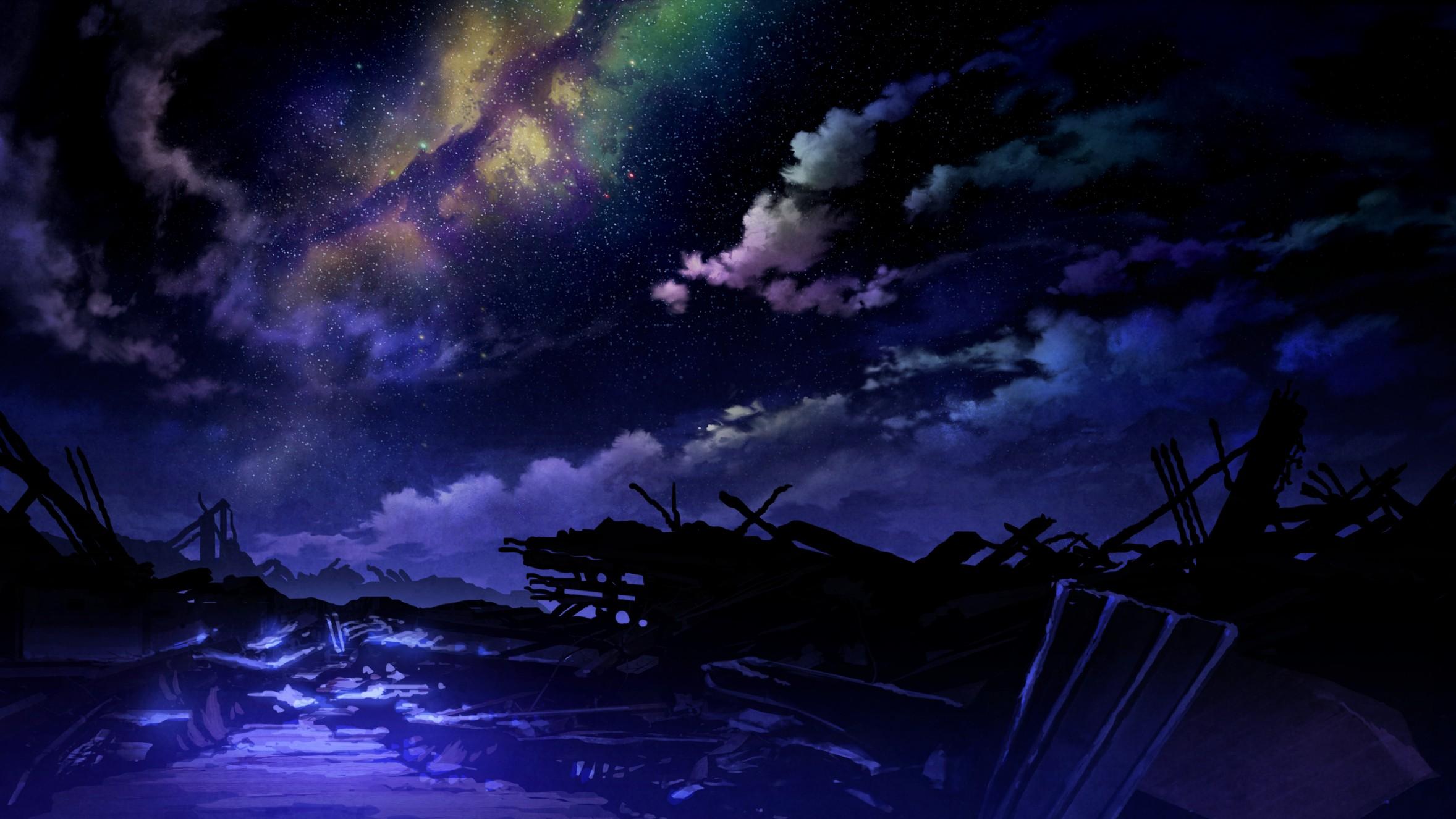 Wallpaper : Fantasy Art, Night, Anime, Apocalyptic, Ruin