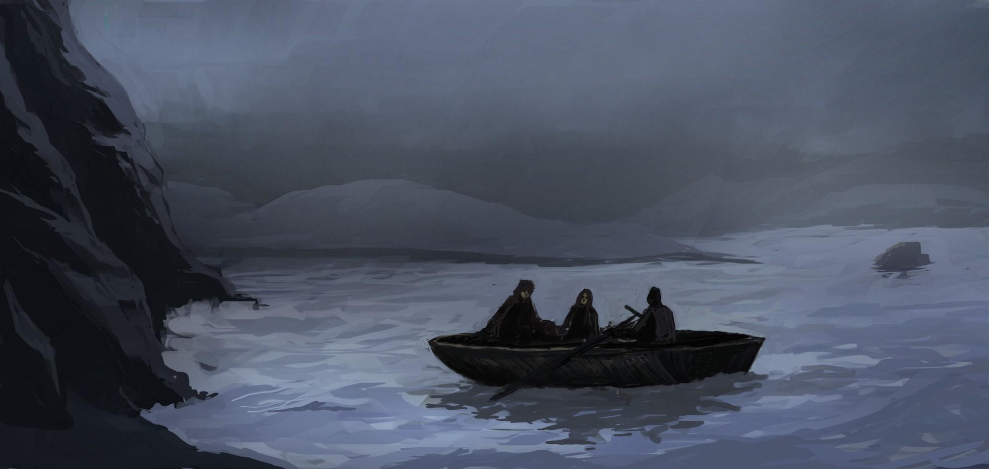 Fresh Wallpaper : fantasy art, night, lake, reflection, iceberg, ice  WO39