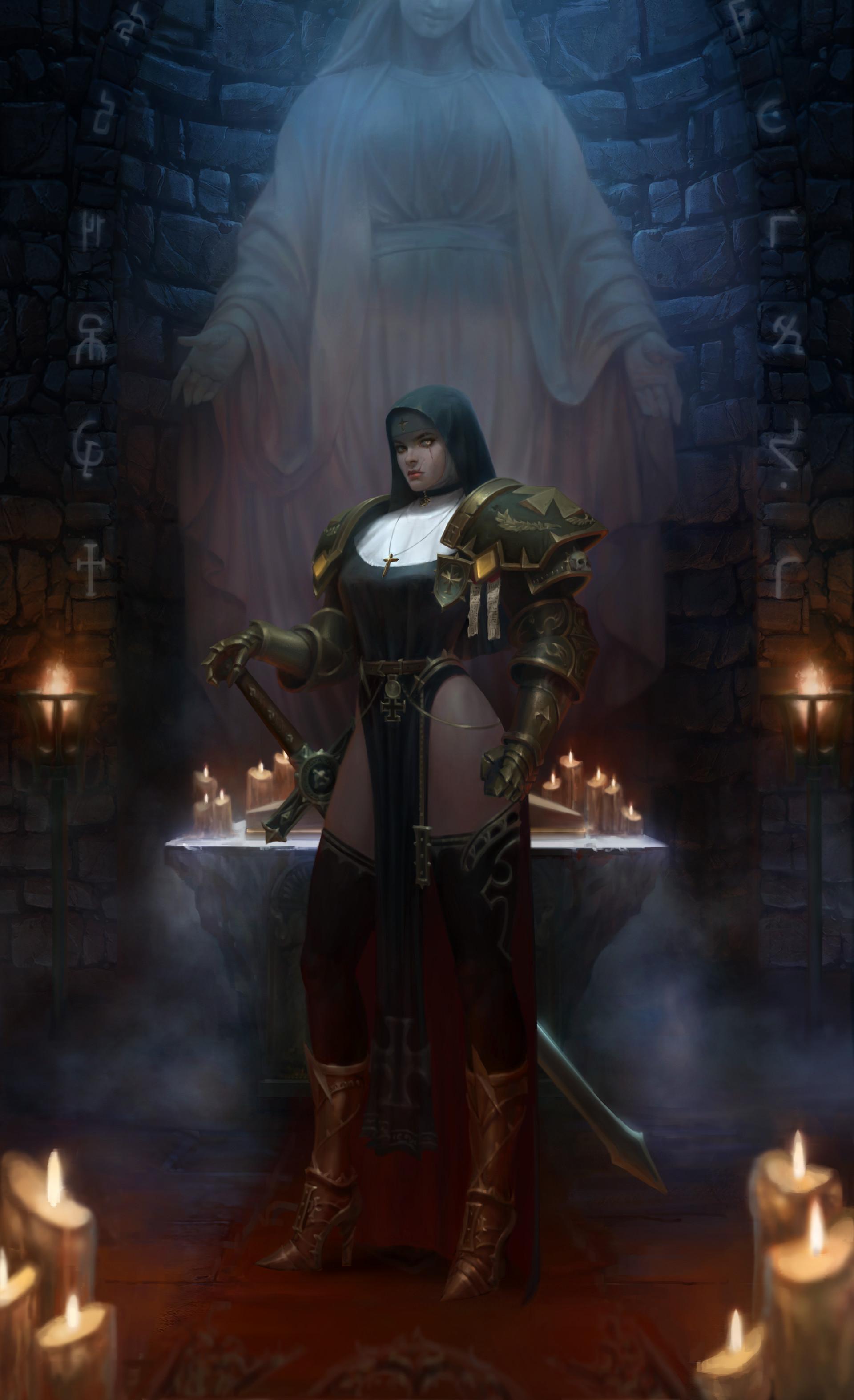 Wallpaper Fantasy Art Priestess Warhammer 40 000