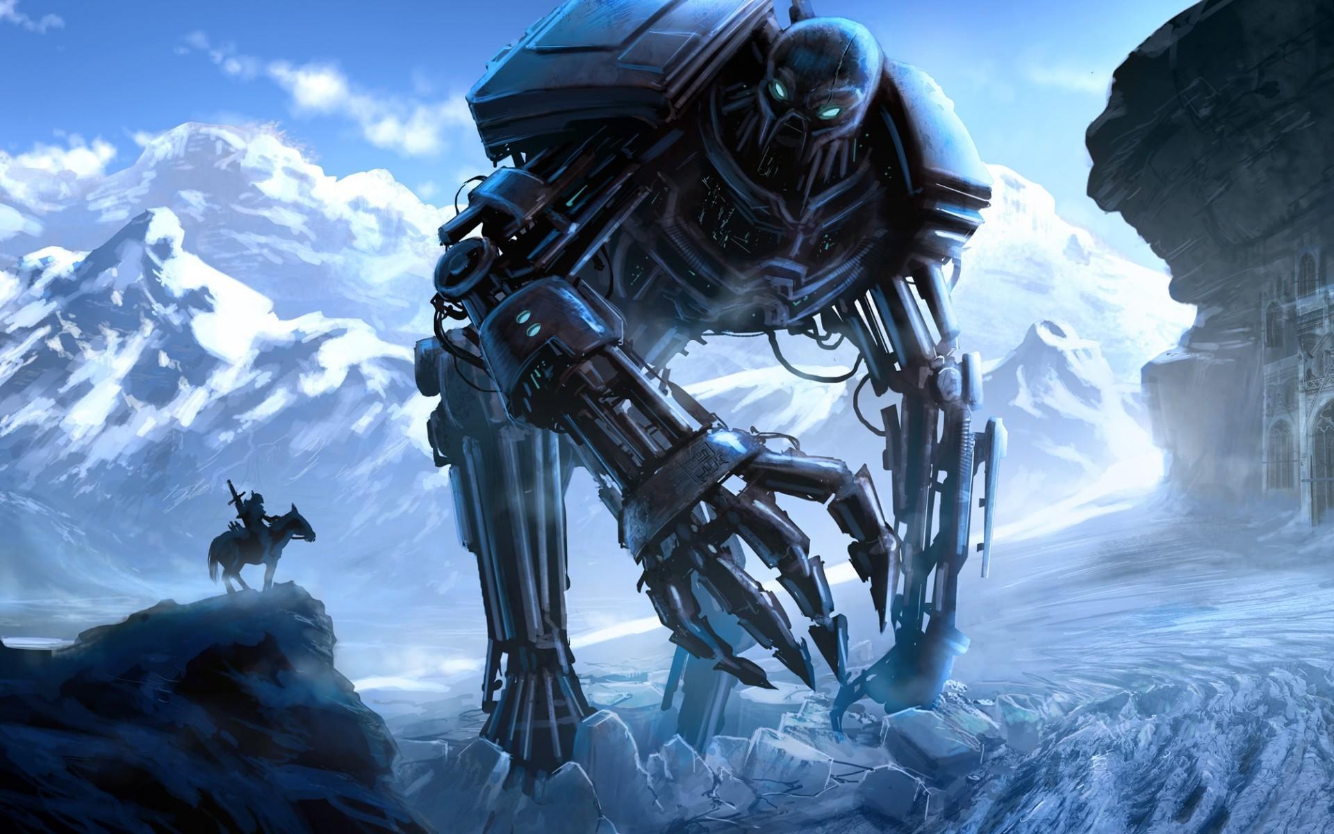 wallpaper fantasy art robot snow winter ice science fiction