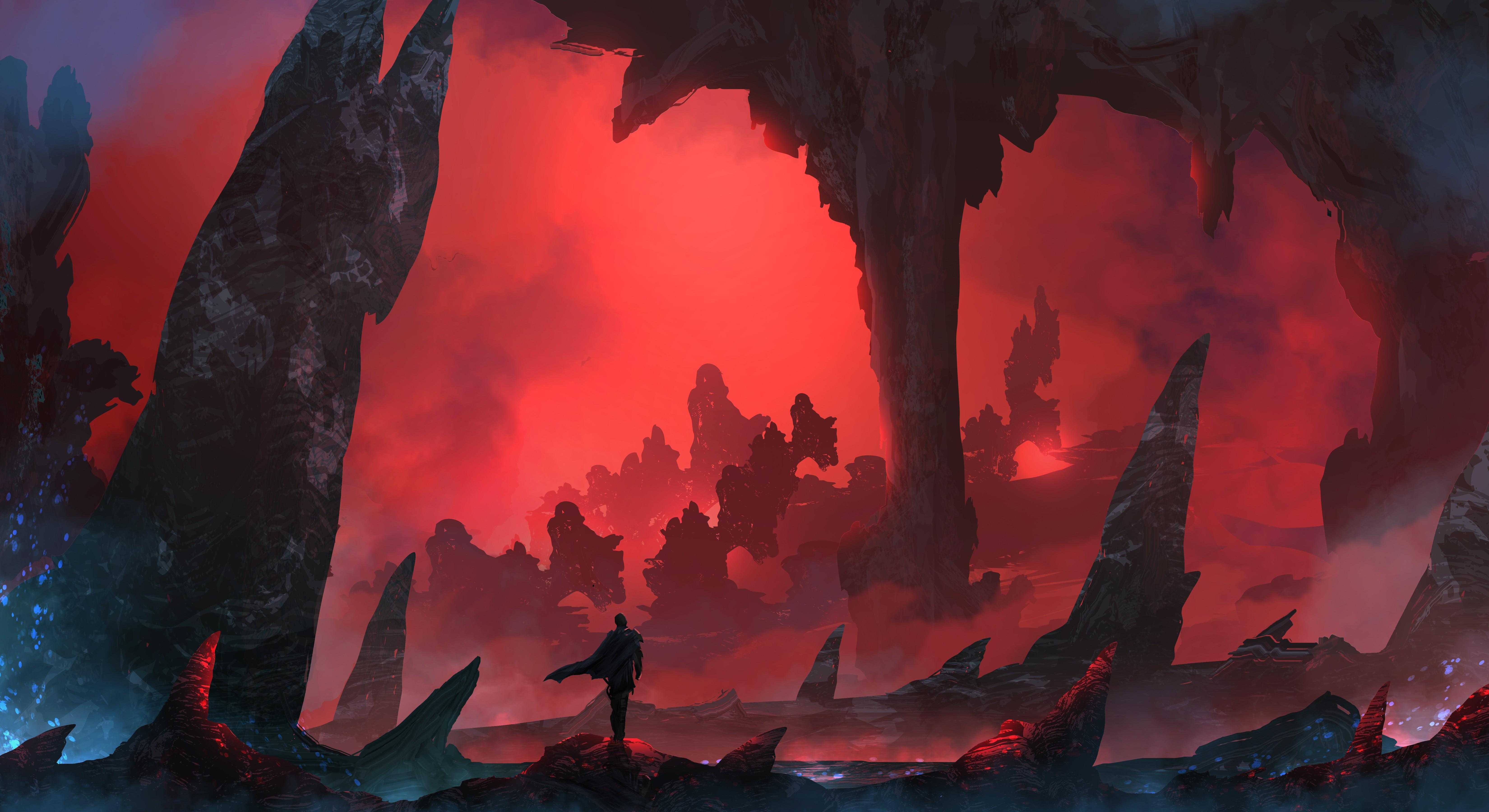 Wallpaper Fantasy Art Rock Mist Hero Warrior