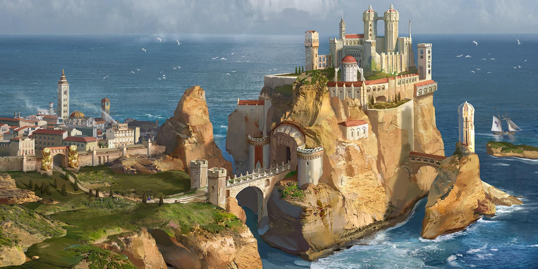 Wallpaper : fantasy art, sea, bay, vehicle, fantasy city ...