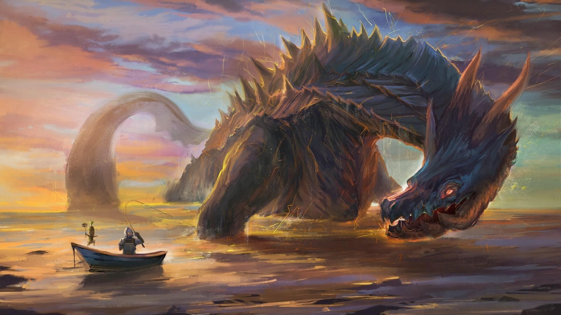 Fantasy Art Sea Dragon Monster Hunter Fishing Rod Dark Humor Mythology Screenshot Computer Wallpaper Fictional Character