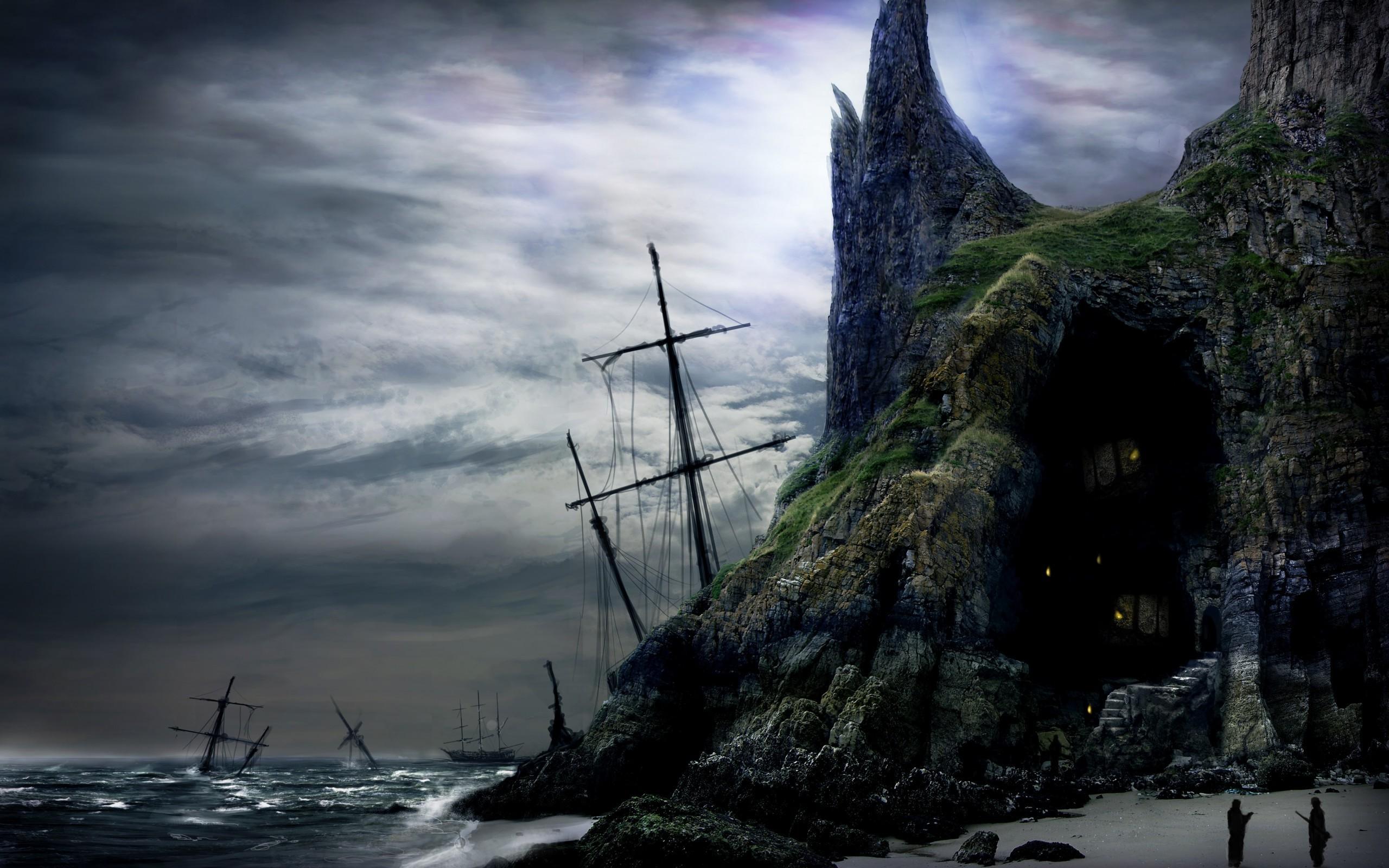 картинка корабль море скалы отвариваем подсолёной