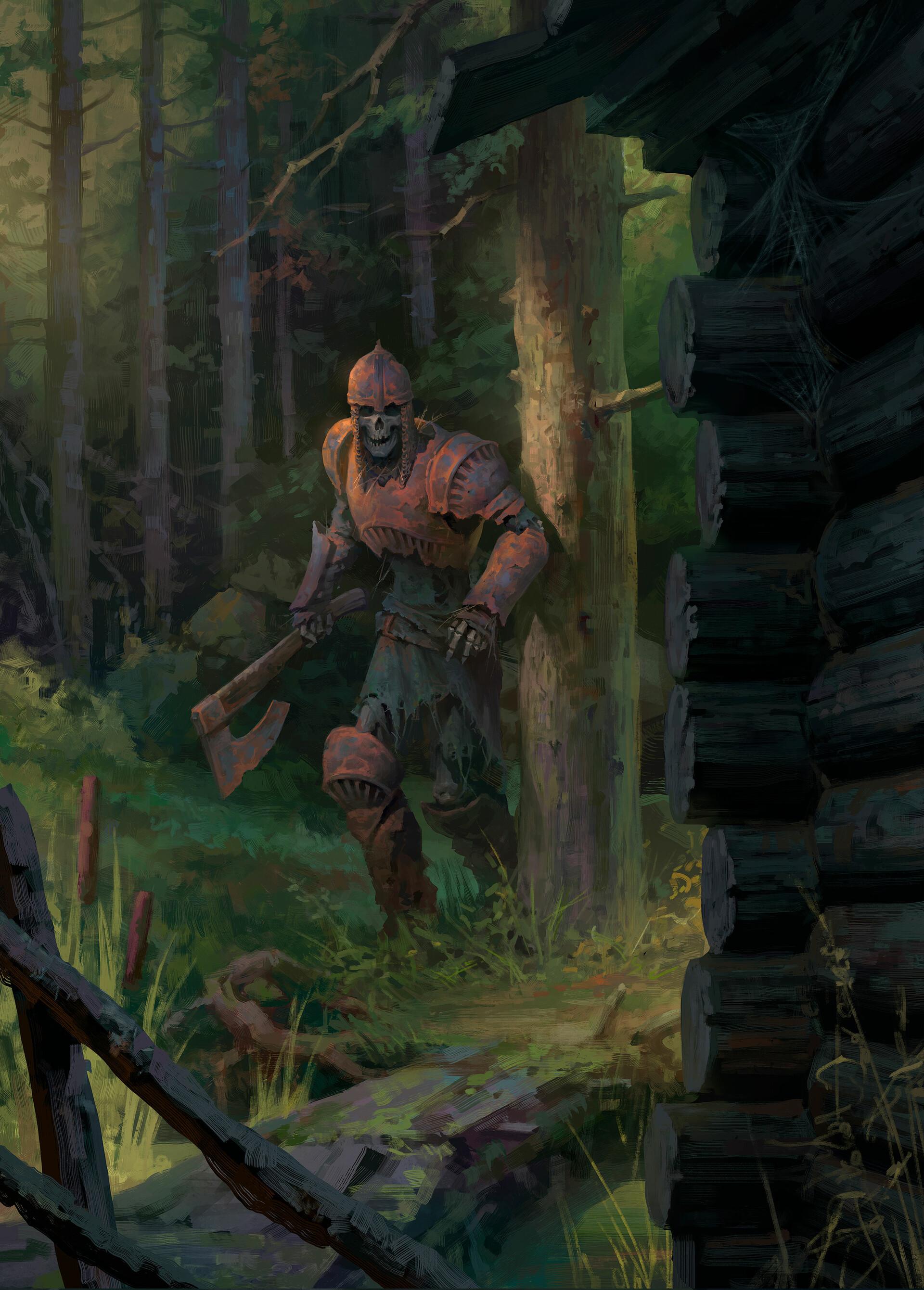Wallpaper Fantasy Art Skeleton Axe Armor Rust Skull