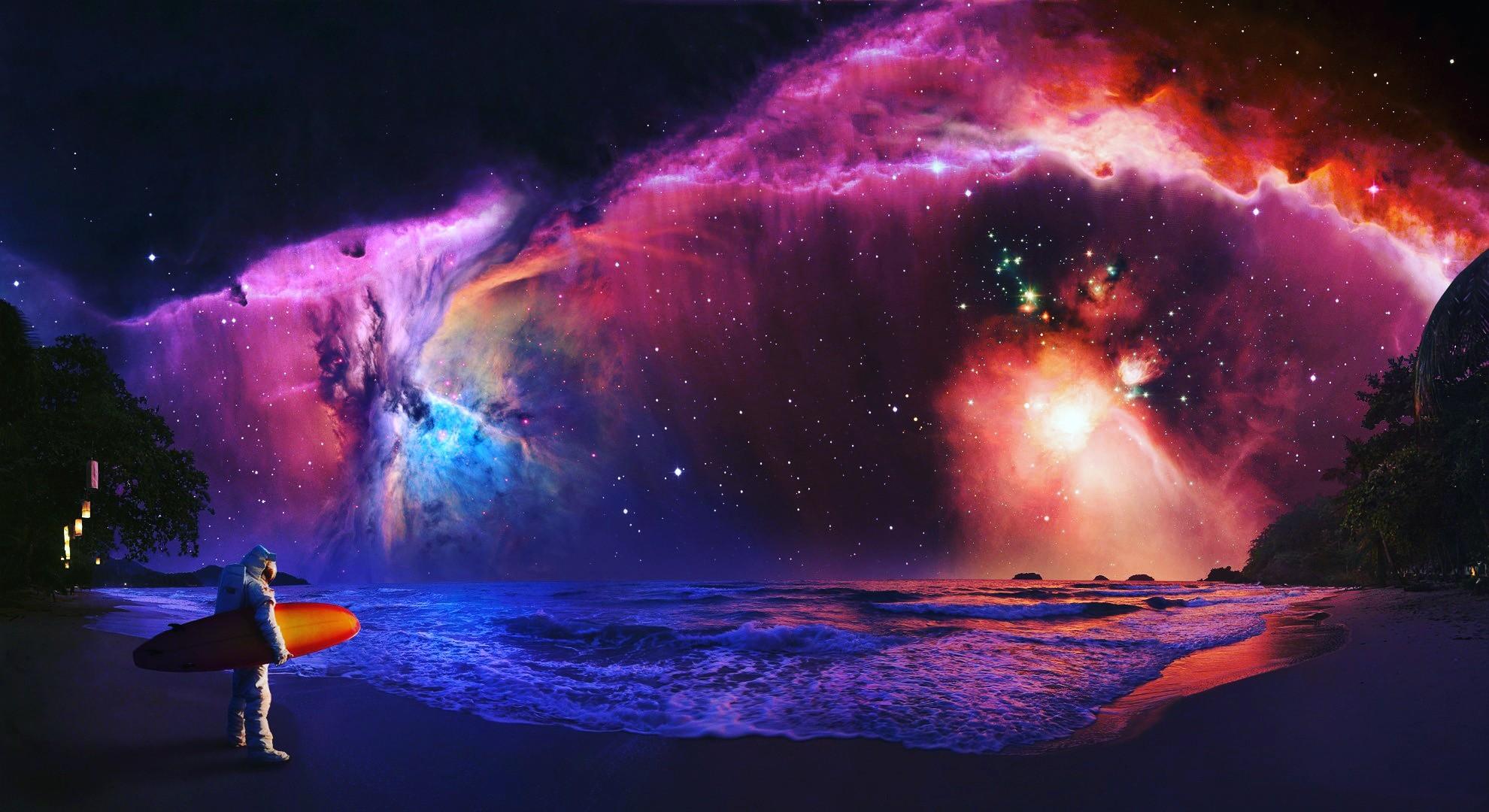 デスクトップ壁紙 ファンタジーアート スペース 星雲 宇宙飛行士
