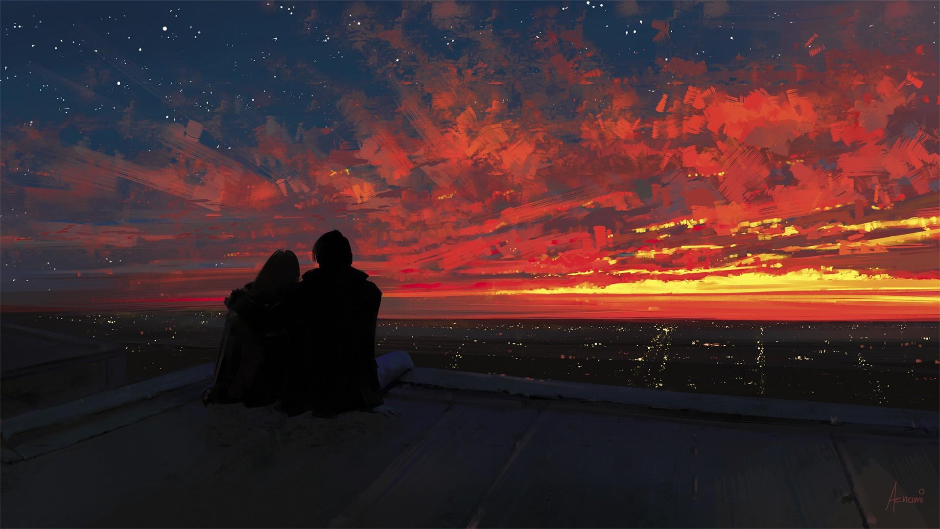 wallpaper   fantasy art  sunset  night  sky  sunrise  evening  horizon  couple  dusk  light