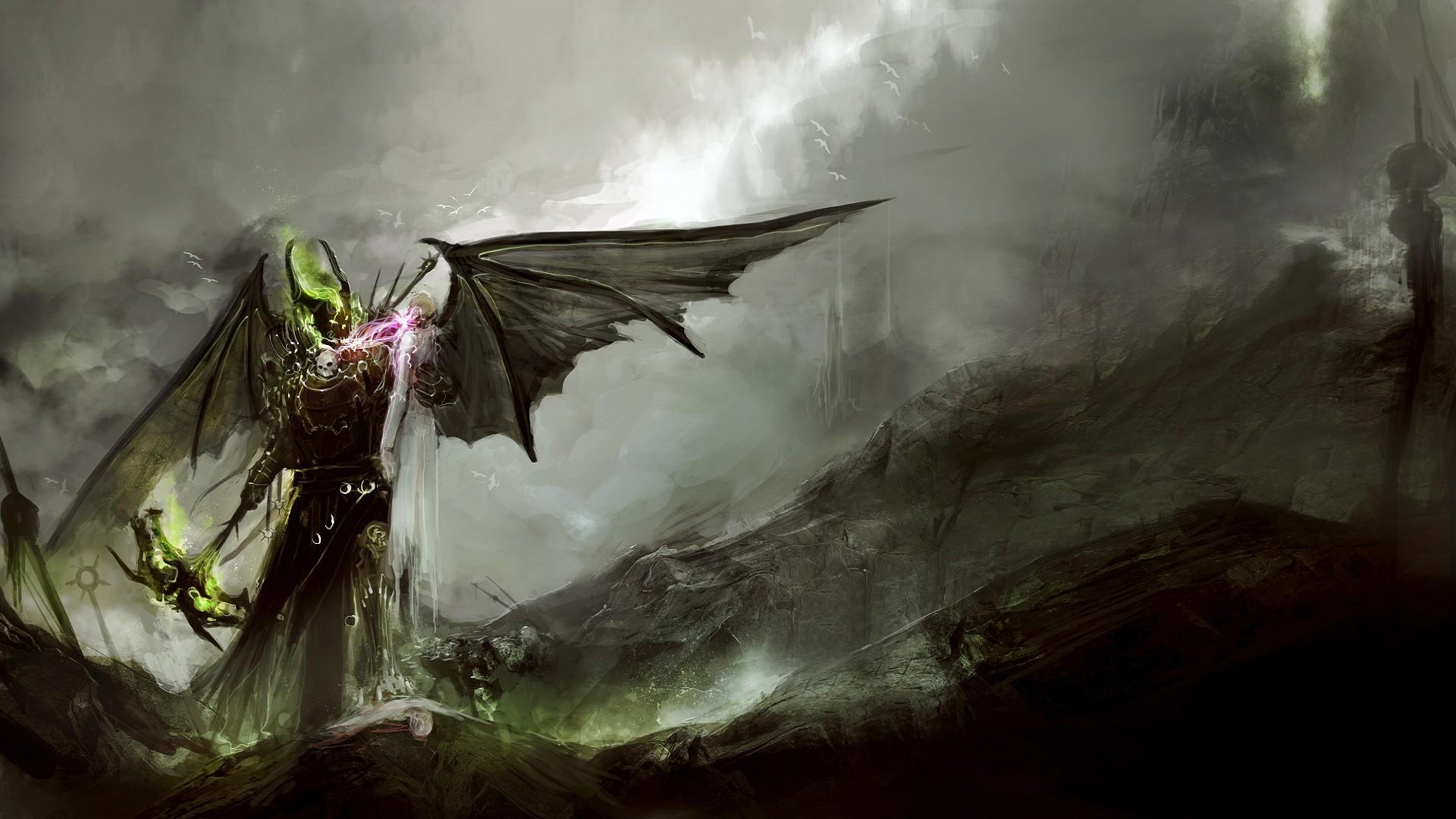 Wallpaper : Fantasy Art, Wings, DeviantArt, Mist, Sword