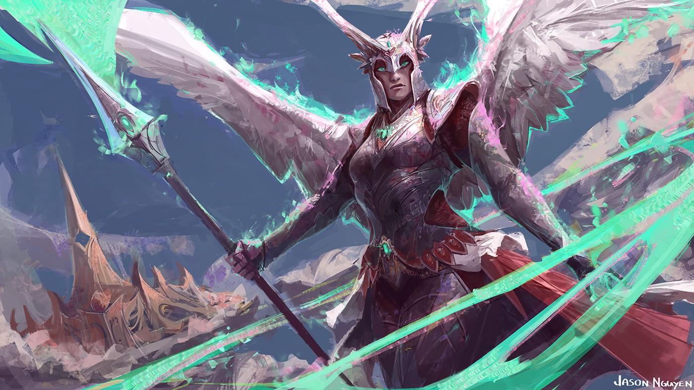 デスクトップ壁紙 ファンタジーアート 翼 天使 鎧 マジック