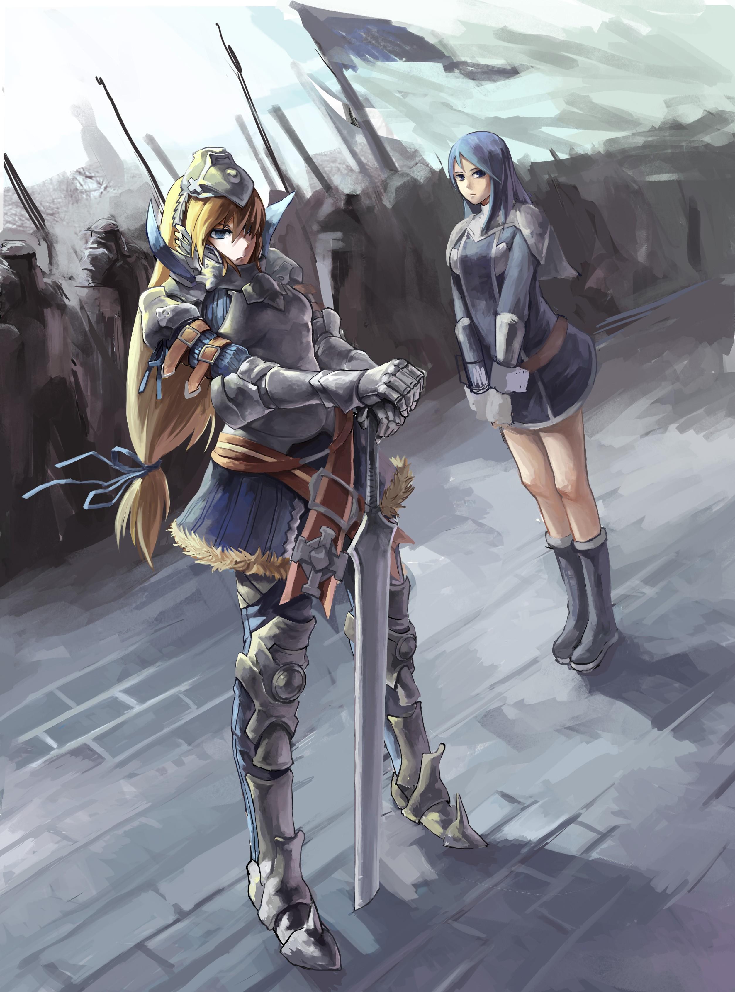 Wallpaper fantasy girl blonde long hair anime girls - Anime girl with weapon ...