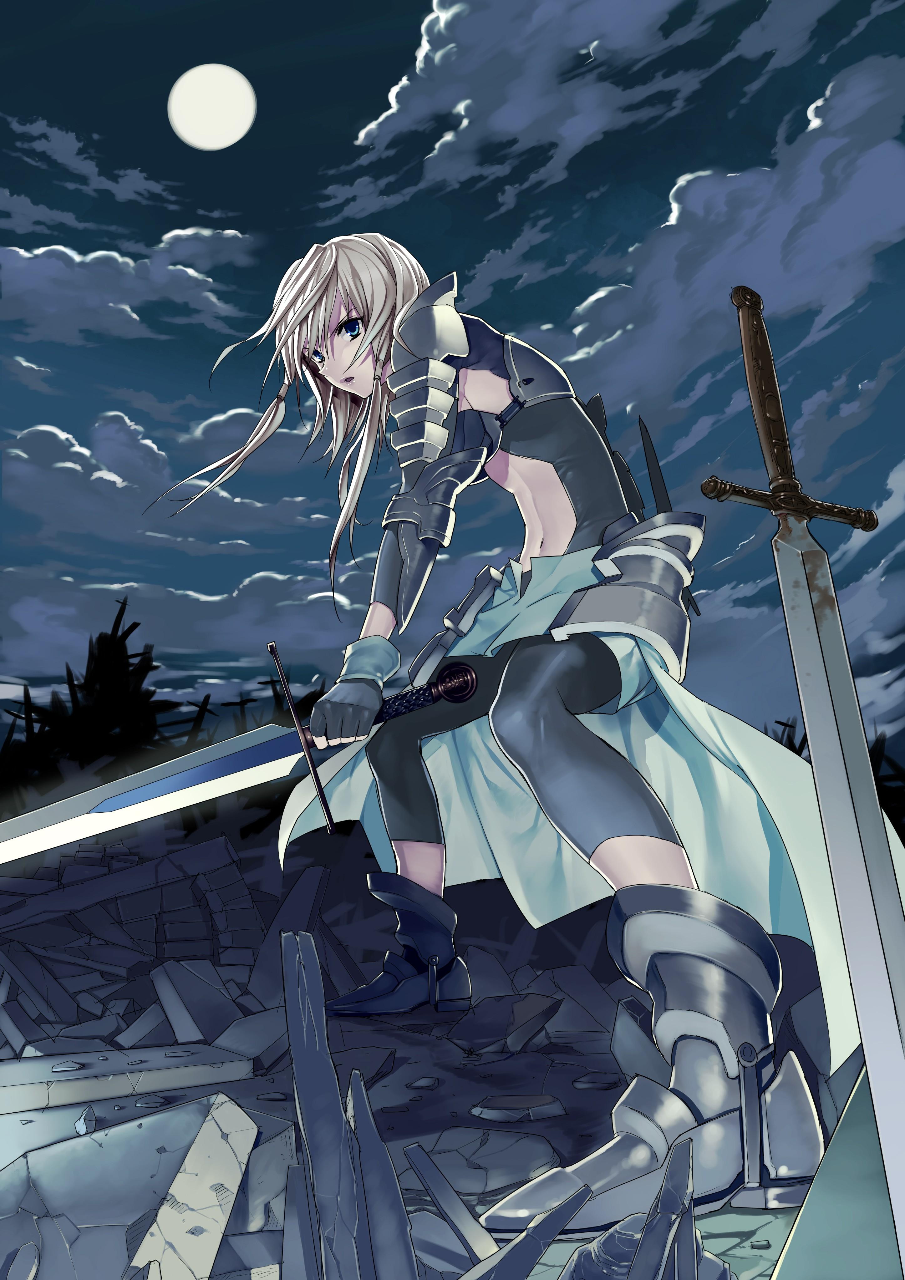 Wallpaper fantasy girl blonde night long hair anime - Anime girl with weapon ...