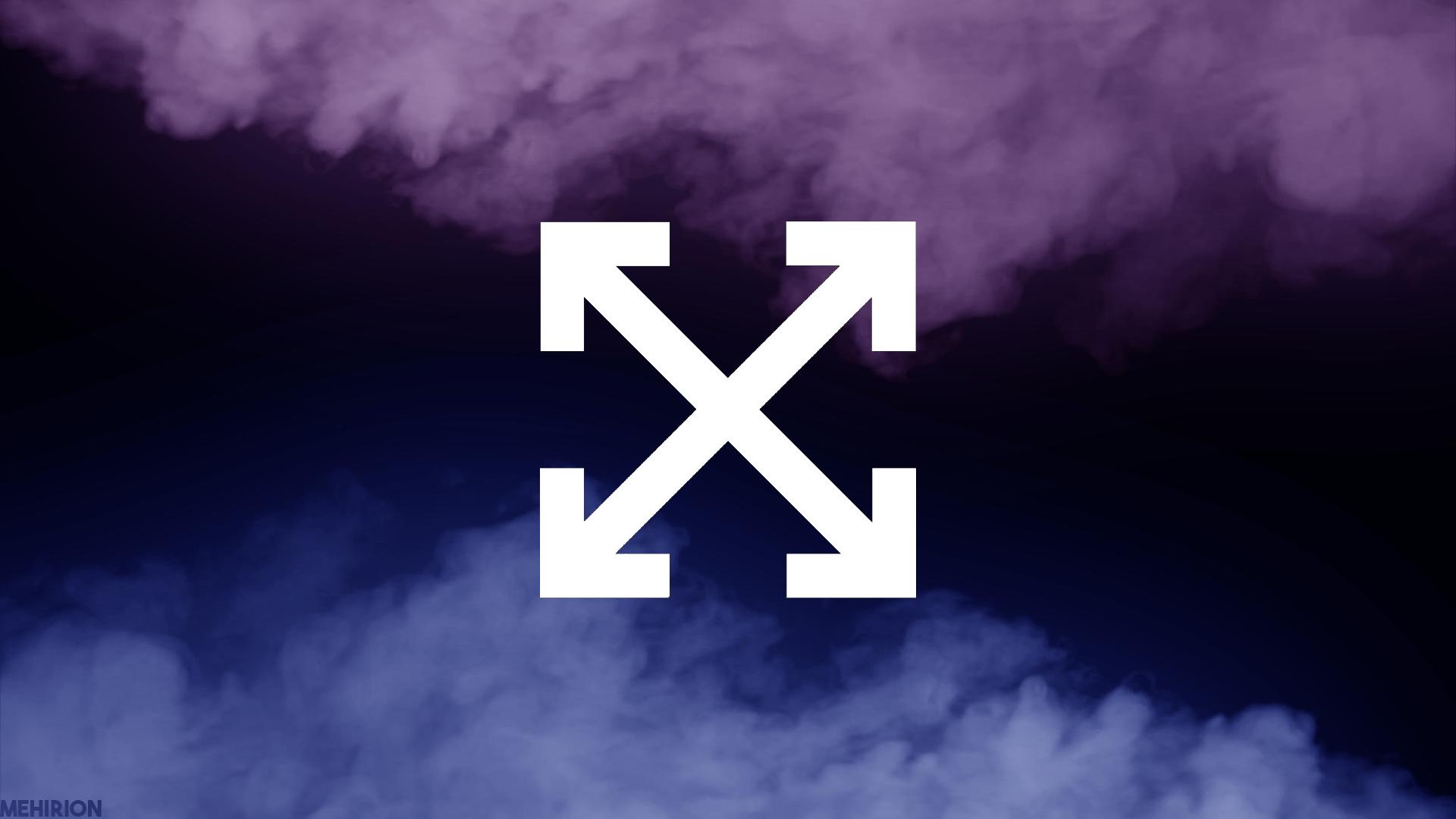 Fashion off white purple blue smoke black simple digital art arrows design