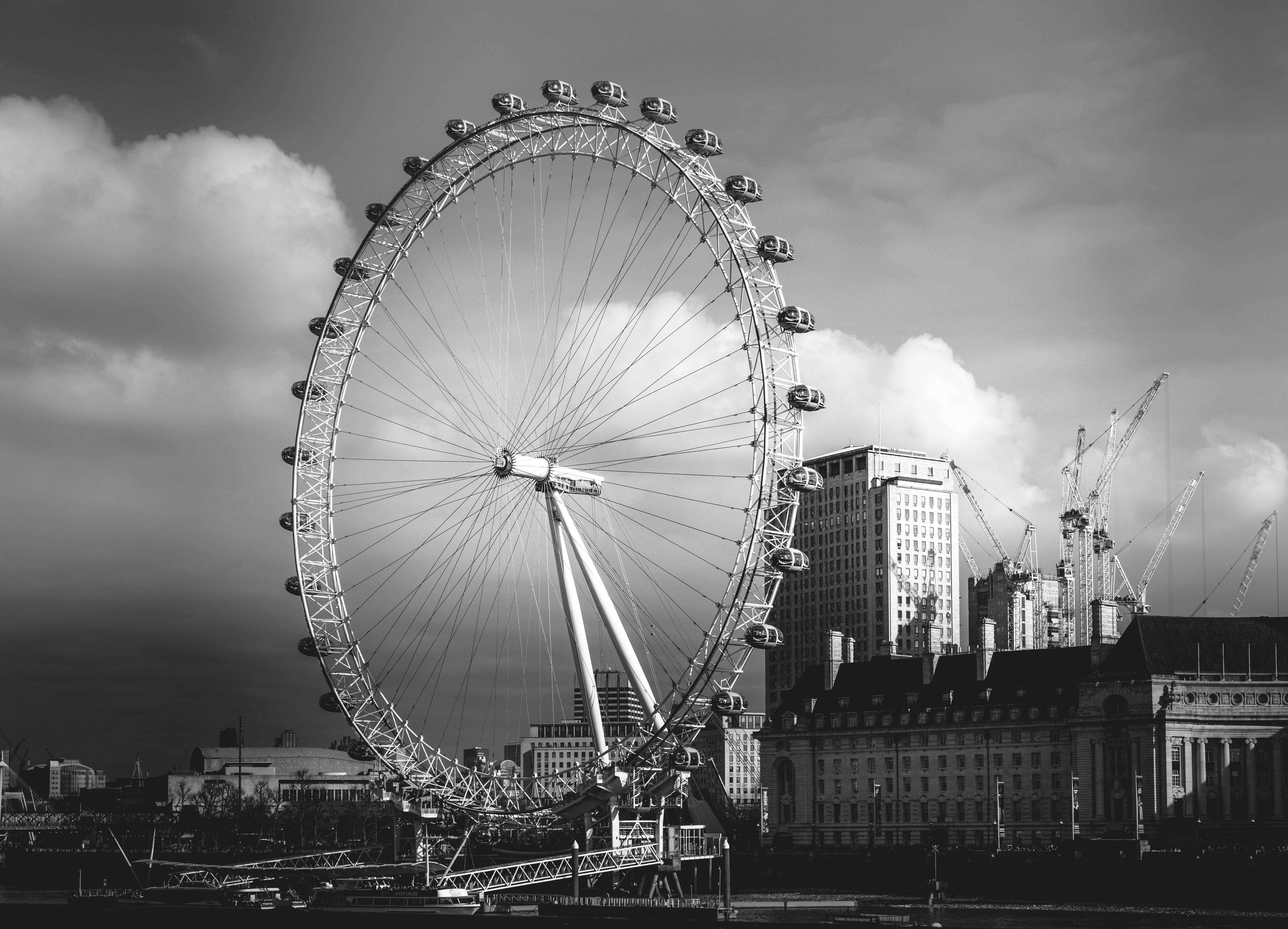 Wallpaper Ferris Wheel Landmark Sky Black And White Tourist Images, Photos, Reviews