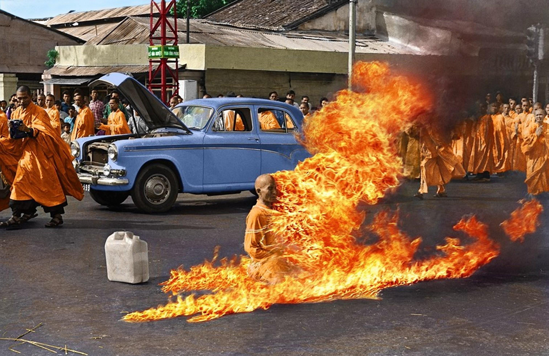 Wallpaper Fire Album Covers Monks Colorized Photos Vietam