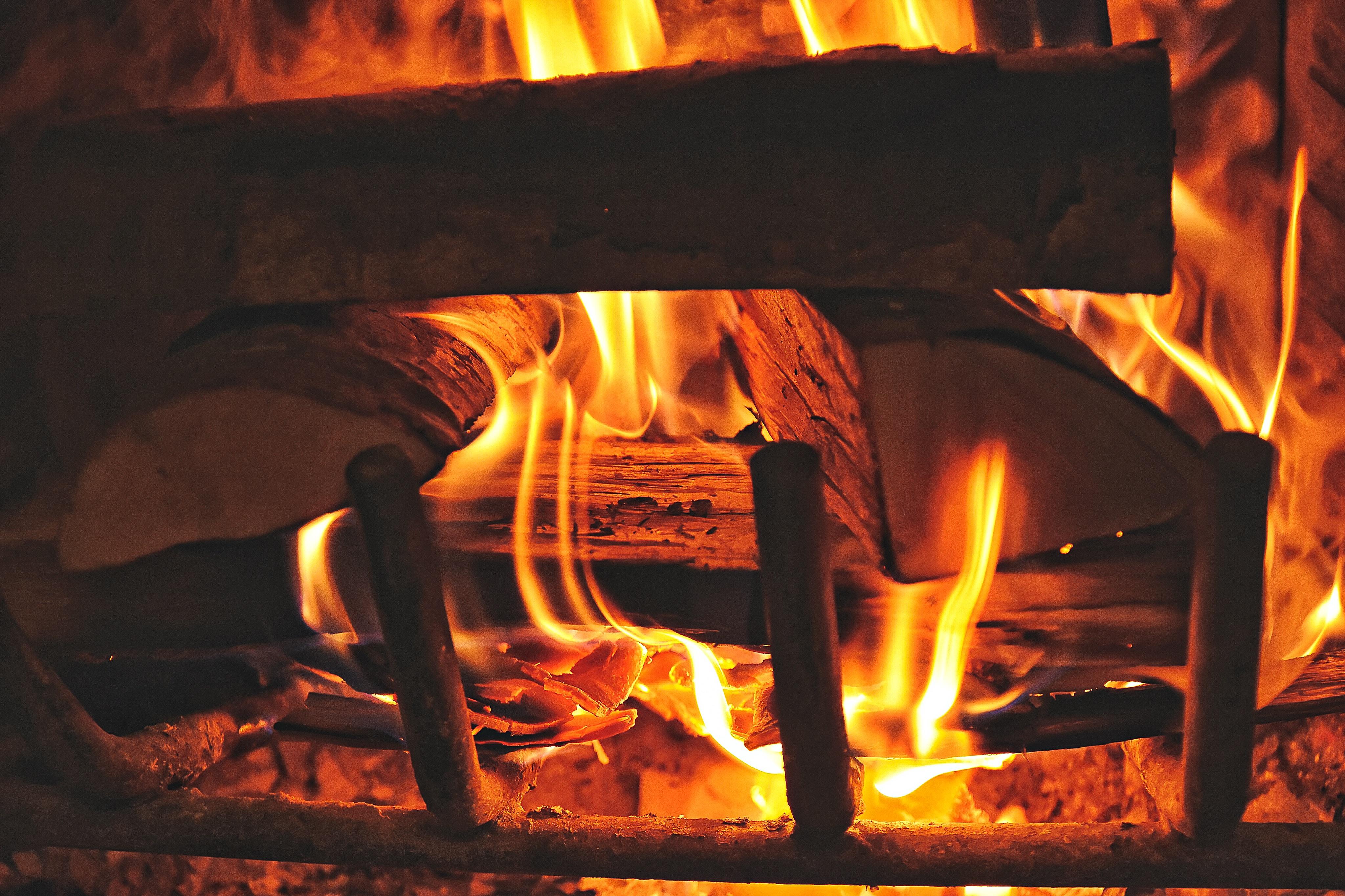 fireplace firewood flicker flame christmas - HD4096×2730