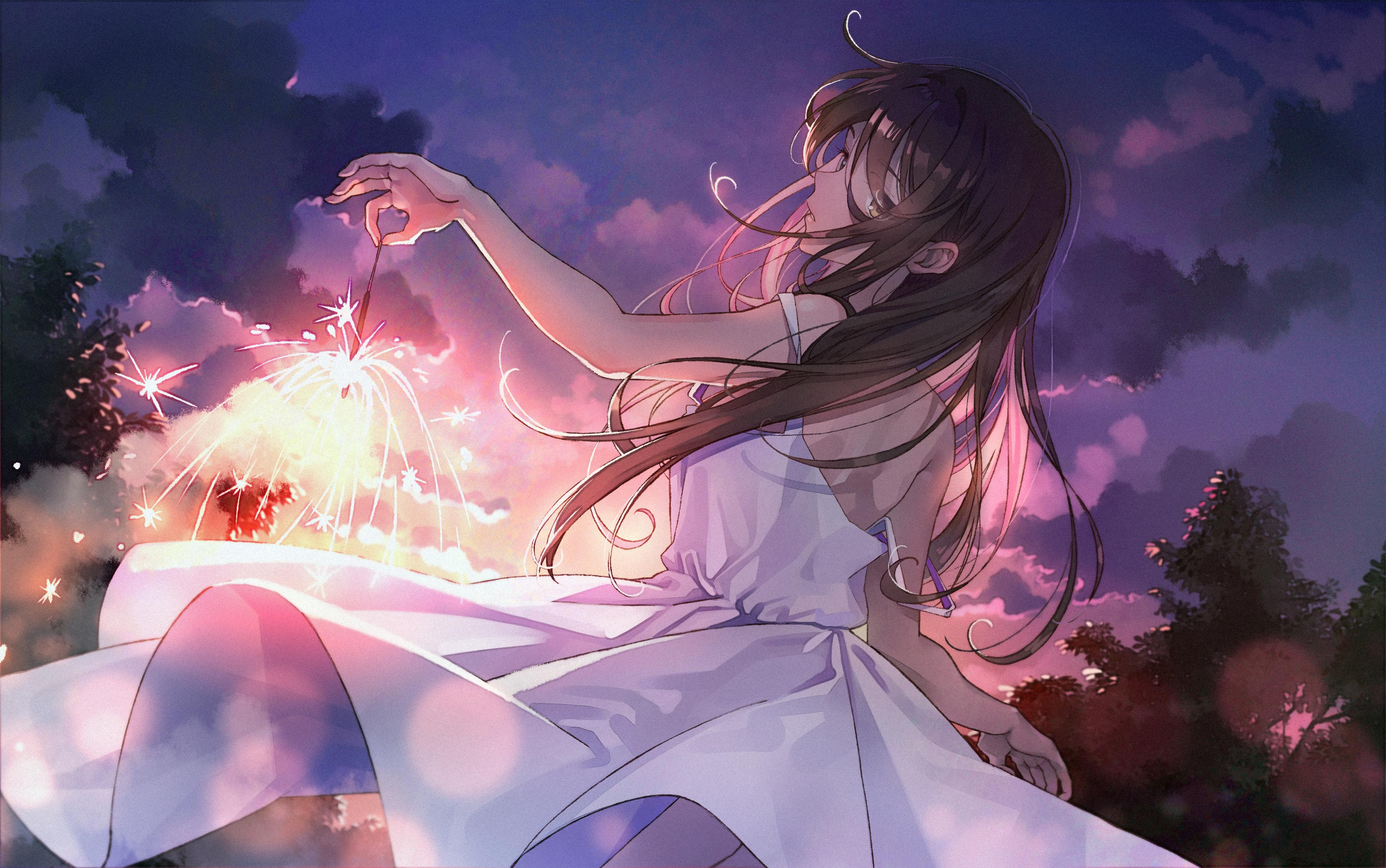 Fondos De Pantalla Fuegos Artificiales Anime Vestir