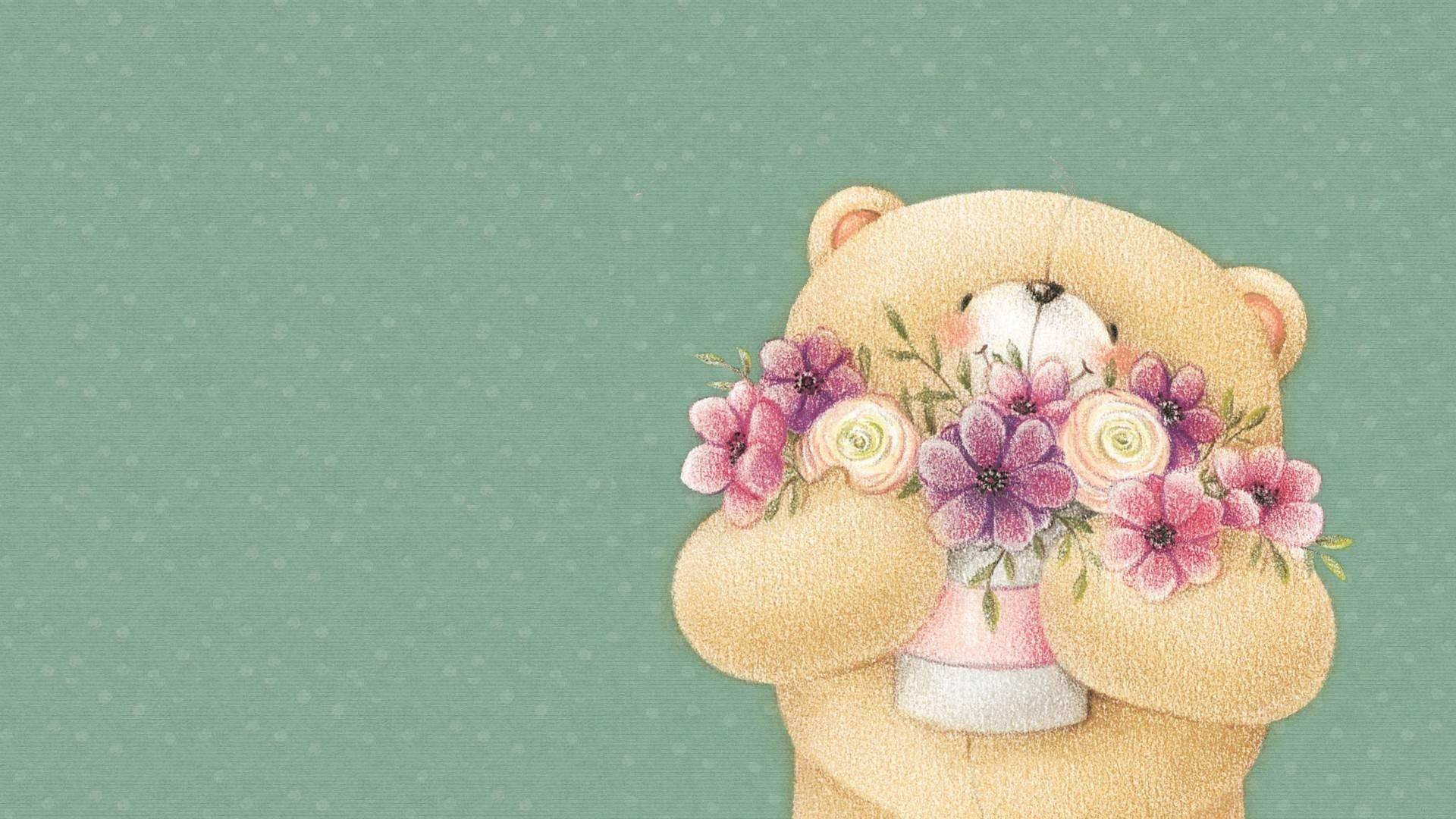 Wallpaper Flowers Toy Pink Art Hand Petal Teddy Bear Flower