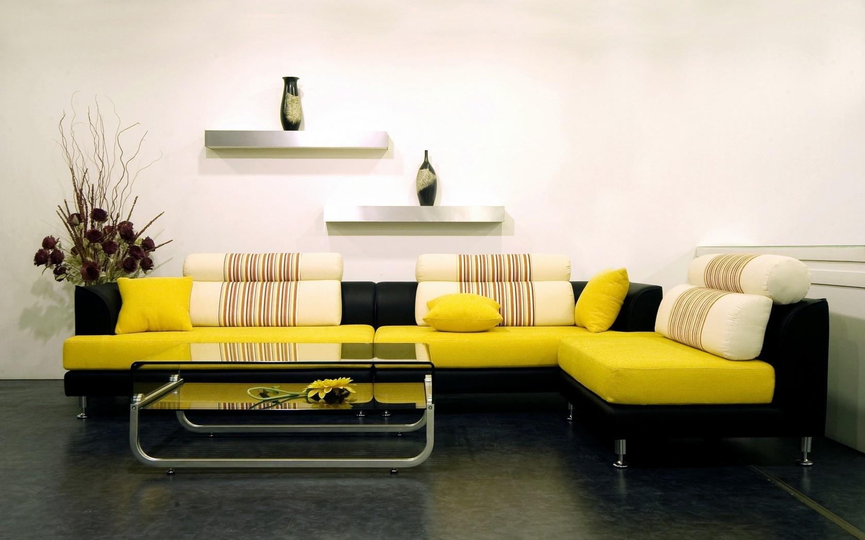 Wallpaper Flowers Table Yellow Interior Design Sofa