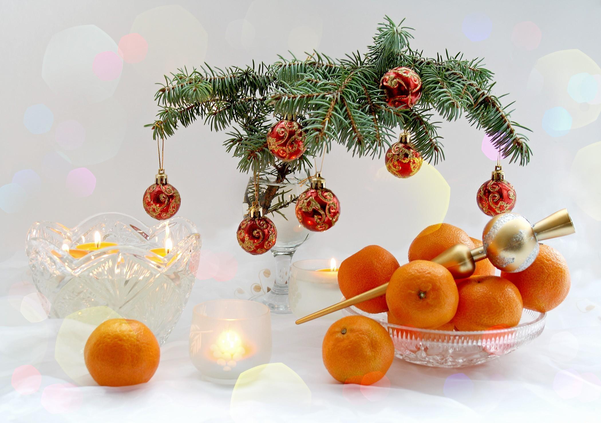 Ночи, открытка с мандаринами новогодняя