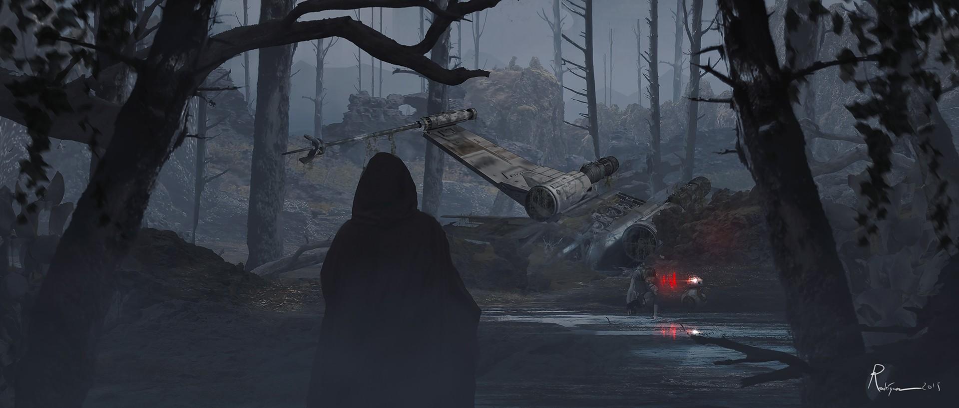 Forest Star Wars The Force Awakens X Wing BB 8 Darkness Screenshot Habitat Natural