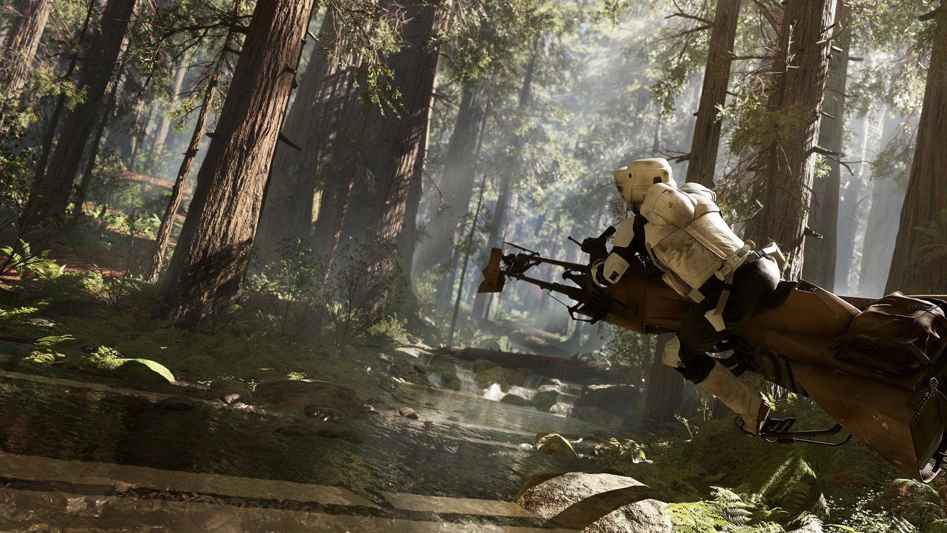 forest Star Wars speeder bike jungle mythology scout trooper Star Wars Battlefront EA Games Endor games screenshot habitat natural environment pc game 131645