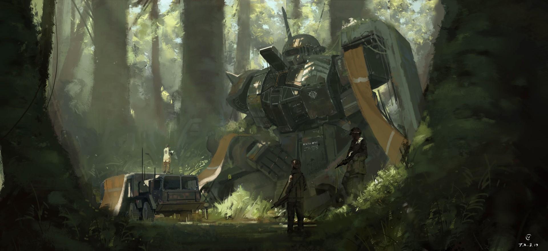 デスクトップ壁紙 森林 アートワーク sf ガンダム ジャングル