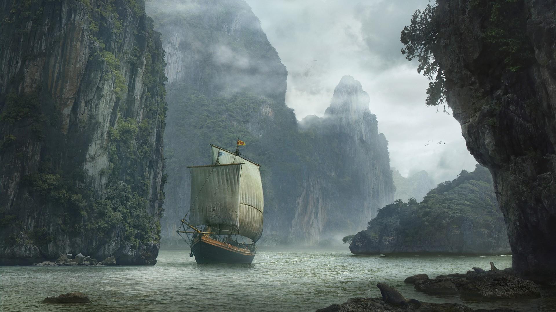 картинка корабль море скалы нас всегда