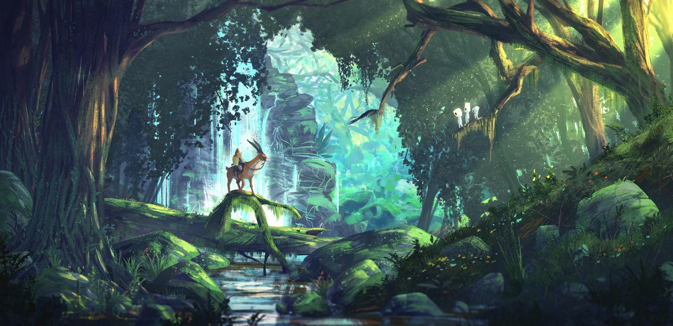 wallpaper forest fantasy art anime cave princess mononoke