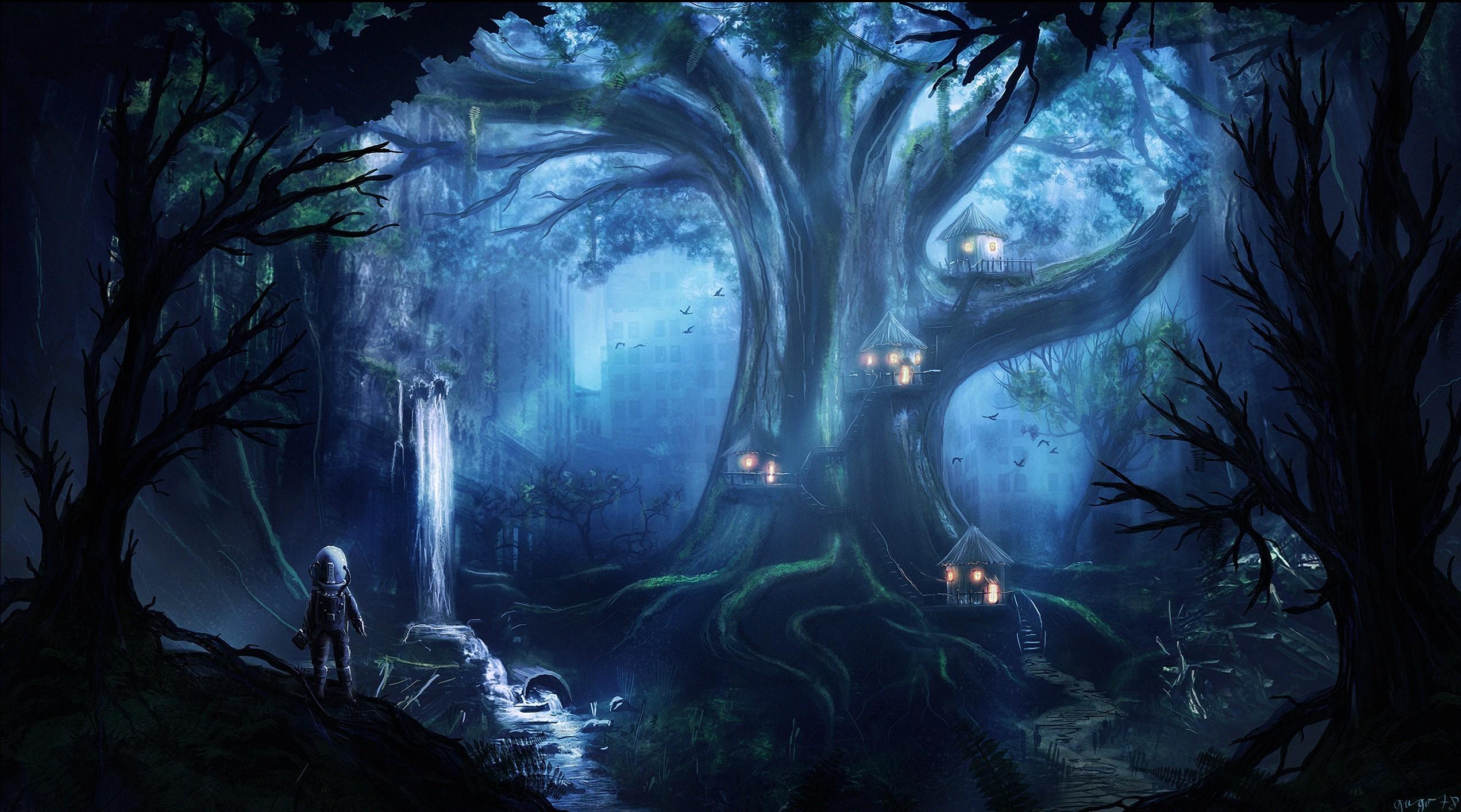 Wallpaper forest fantasy art night artwork jungle midnight ghost ship darkness - Midnight wallpaper hd ...