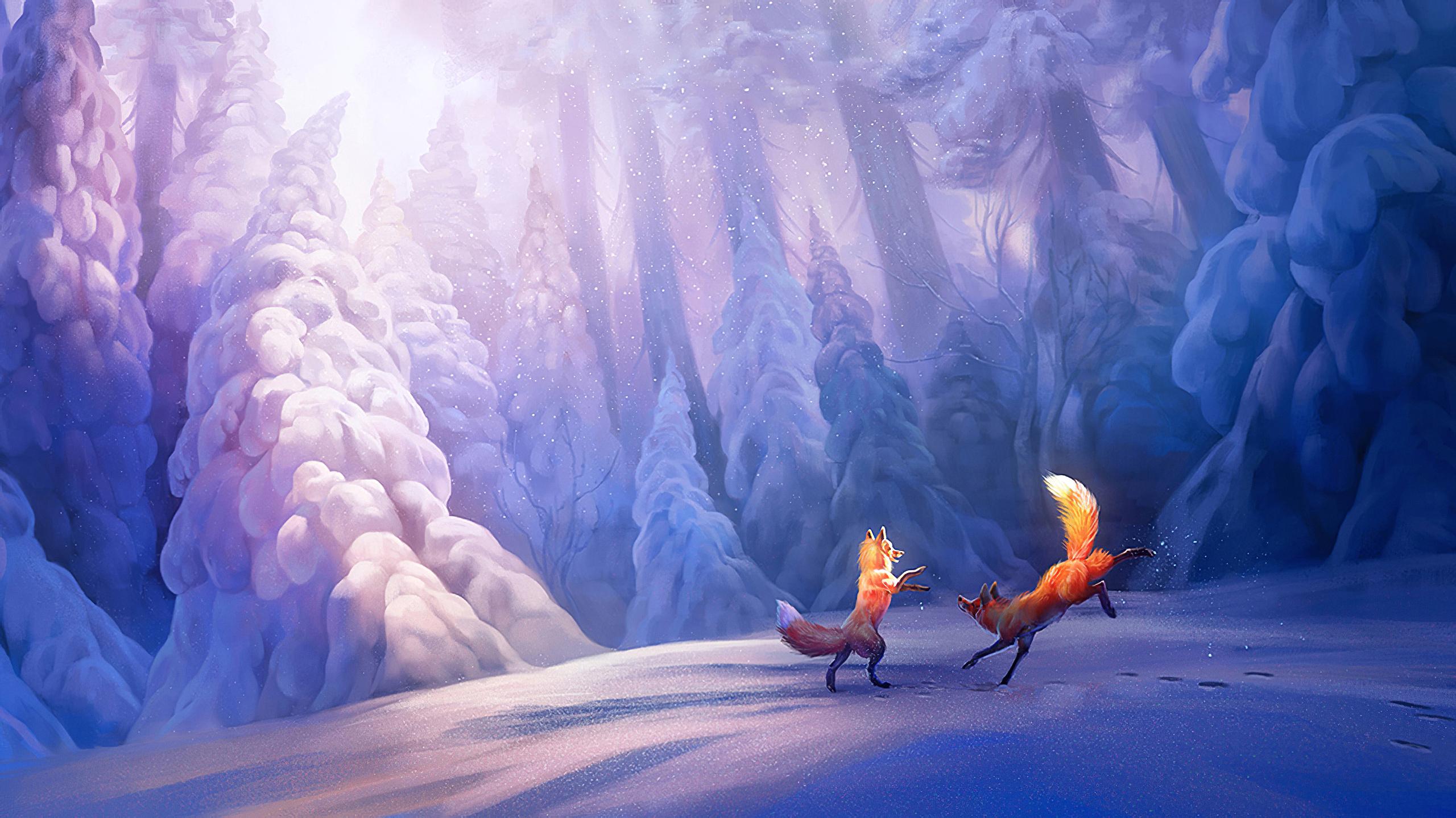 Фото картинка дракон отмечающий новый год в заснеженном лесу