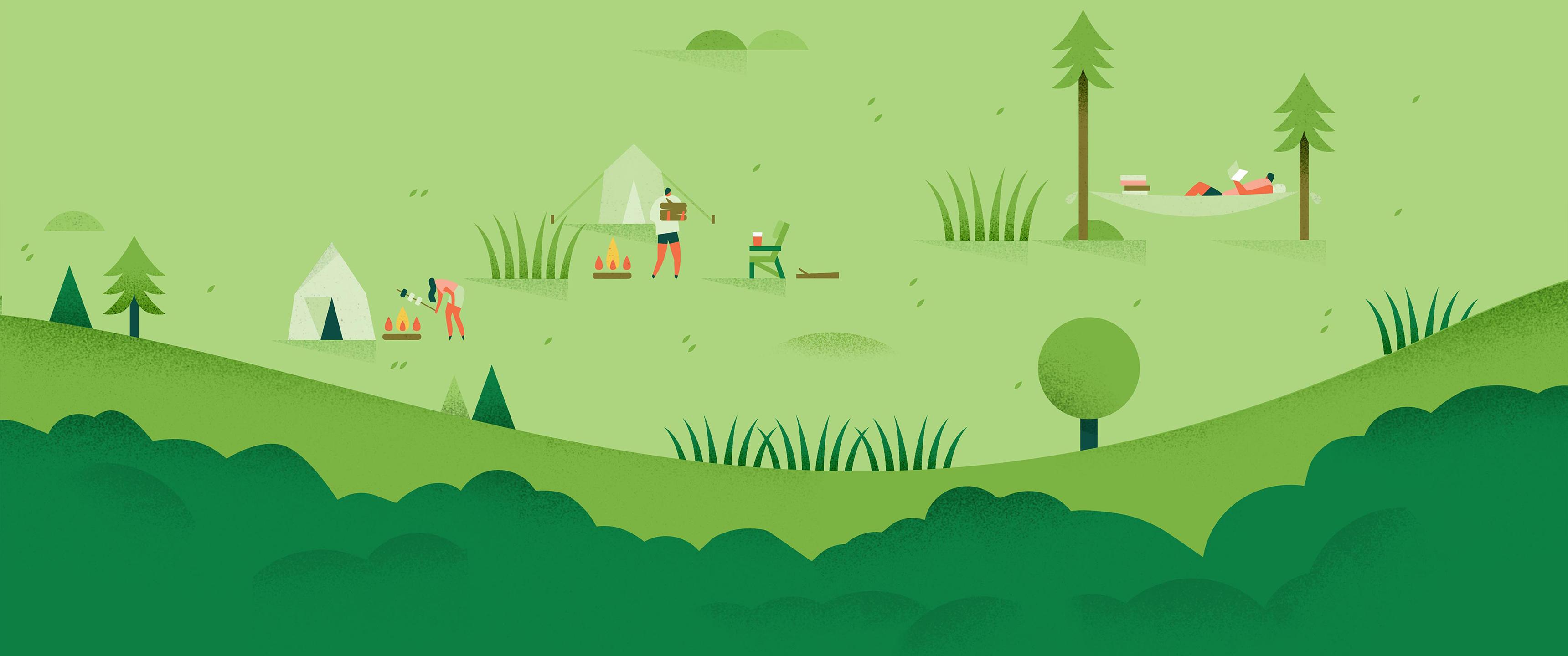 Wallpaper : forest, illustration, minimalism, green ...