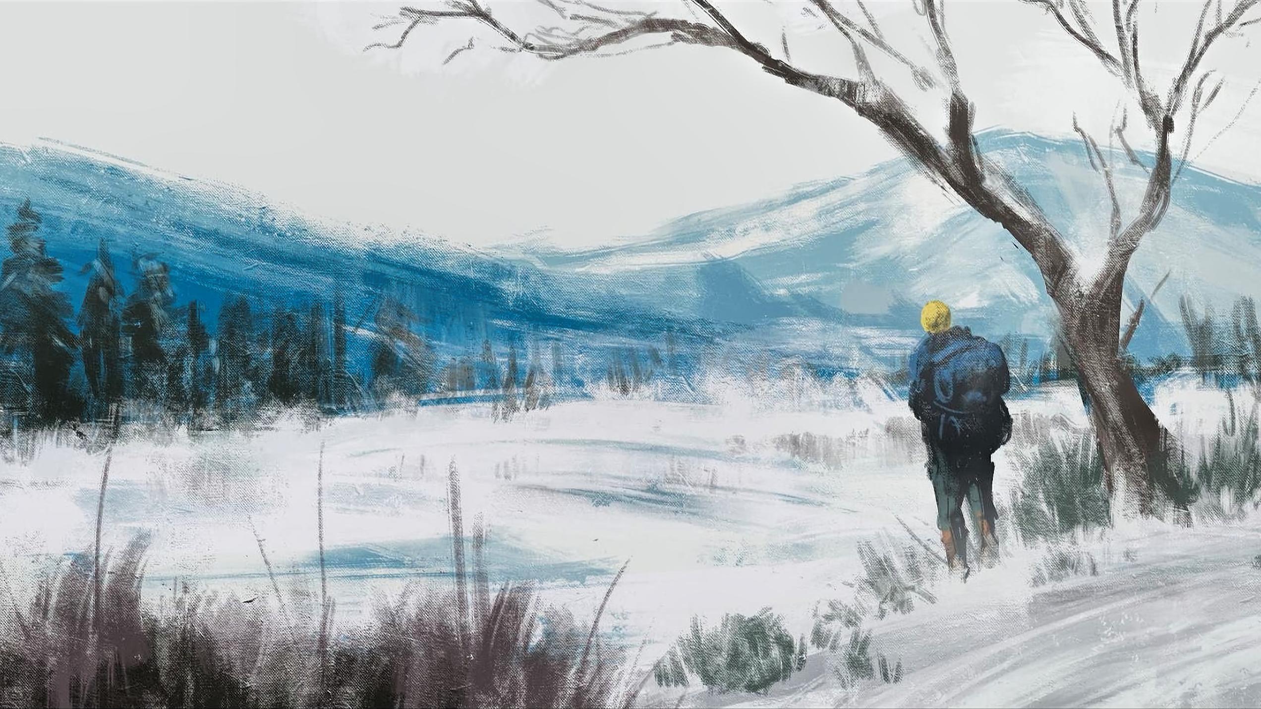 Wallpaper Forest Landscape Winter Imad Awan Artwork