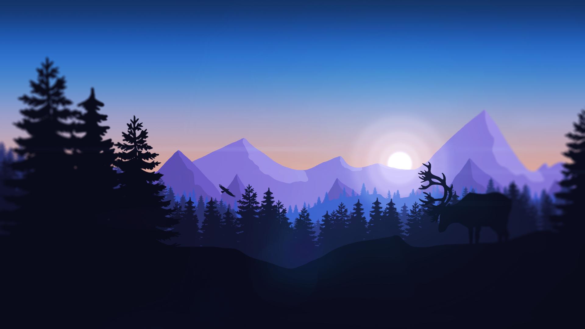 Great Wallpaper Mountain Minimalistic - forest-mountains-animals-minimalism-sunrise-atmosphere-Firewatch-dusk-mountain-dawn-screenshot-atmospheric-phenomenon-computer-wallpaper-mountainous-landforms-ecosystem-mountain-range-56952  Gallery_518186.png