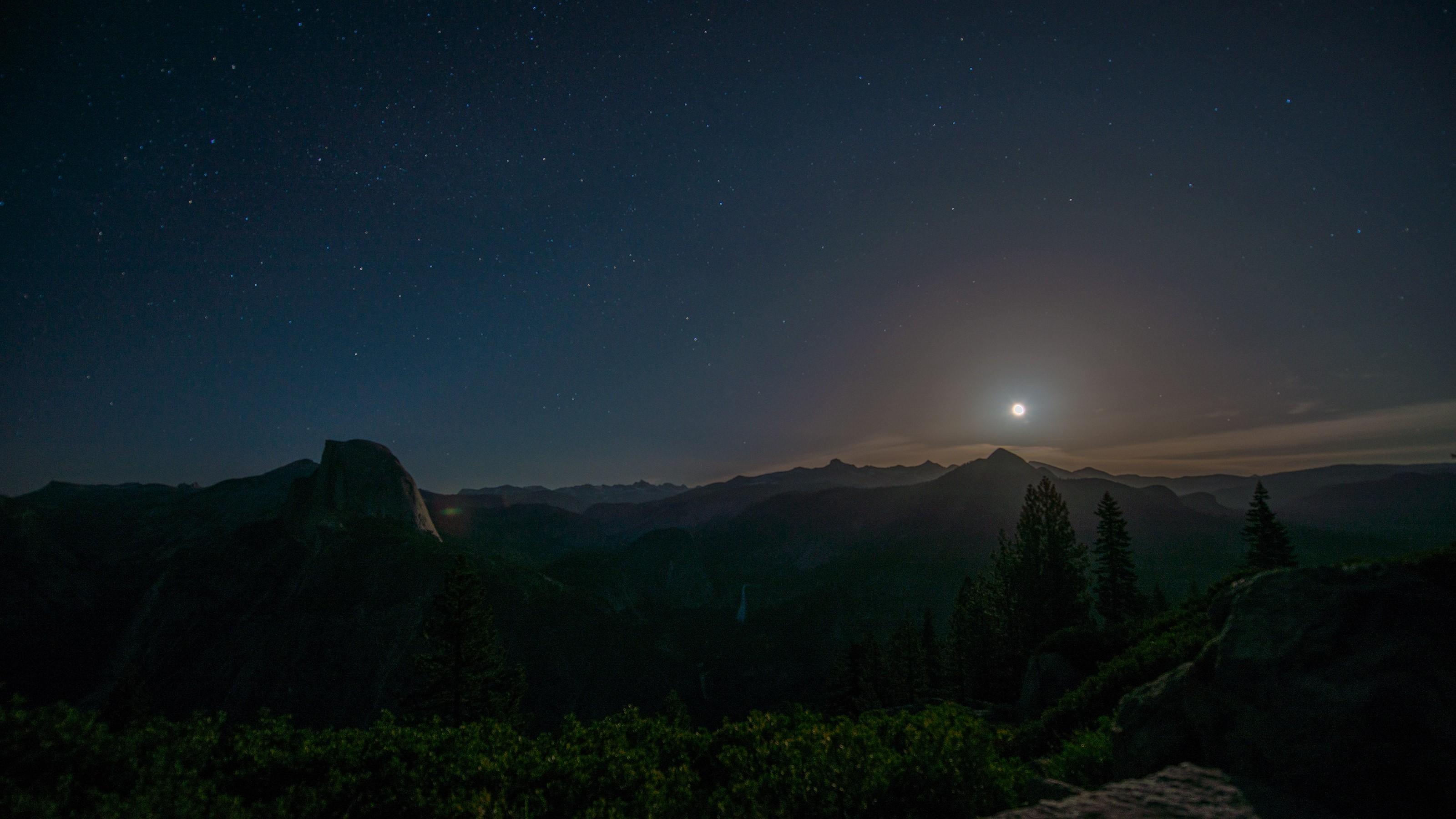 Wallpaper forest mountains night nature sky moon - 3200x1800 wallpaper ...