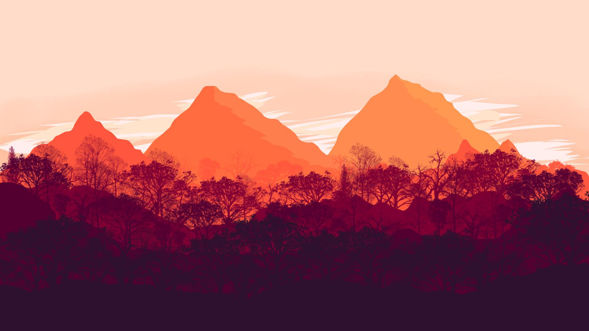 Wallpaper Forest Sunset Warm Colours Simple Minimalist