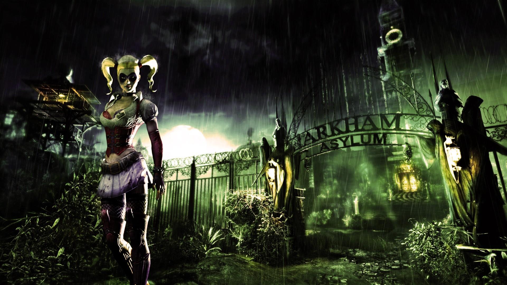 Fond d'écran : forêt, jeux vidéo, nuit, vert, jungle, Harley Quinn, Batman Arkham Asylum ...