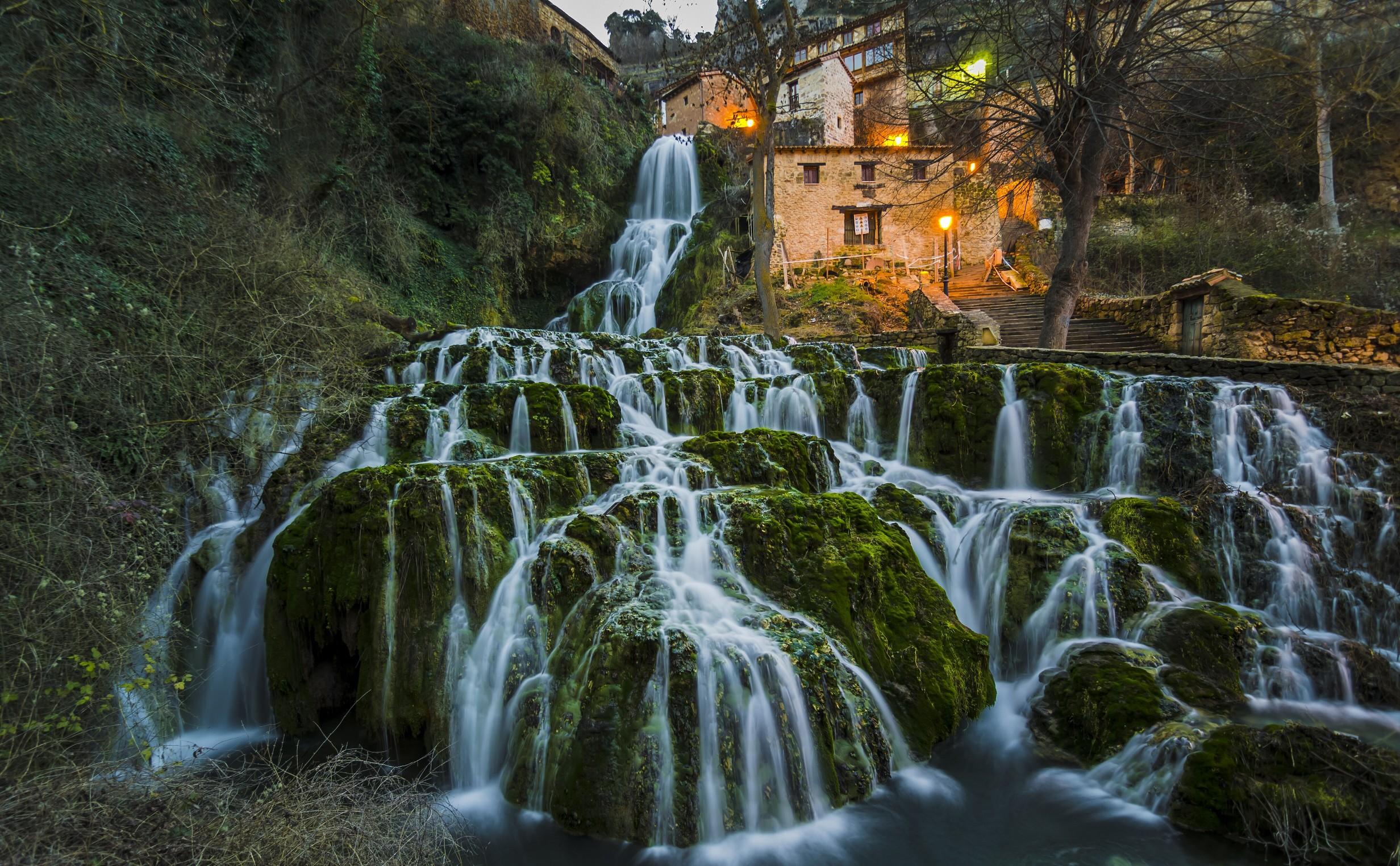 Wald Wasserfall Garten Wasser Natur Betrachtung Fluss Spanien Dschungel  Strom Regenwald Orbaneja Del Castillo Baum Herbst