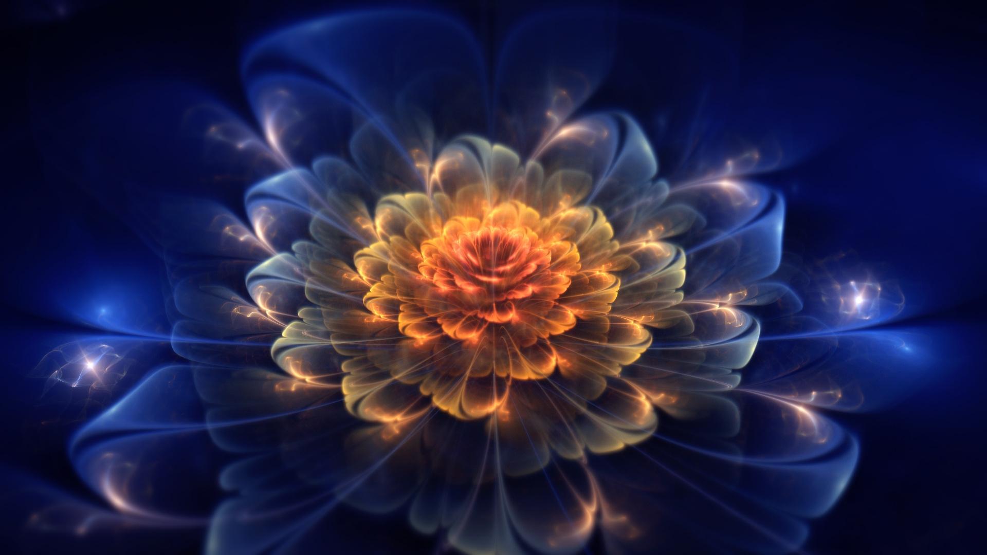 Wallpaper Fractal Flower Light Dark 1920x1080 4kwallpaper