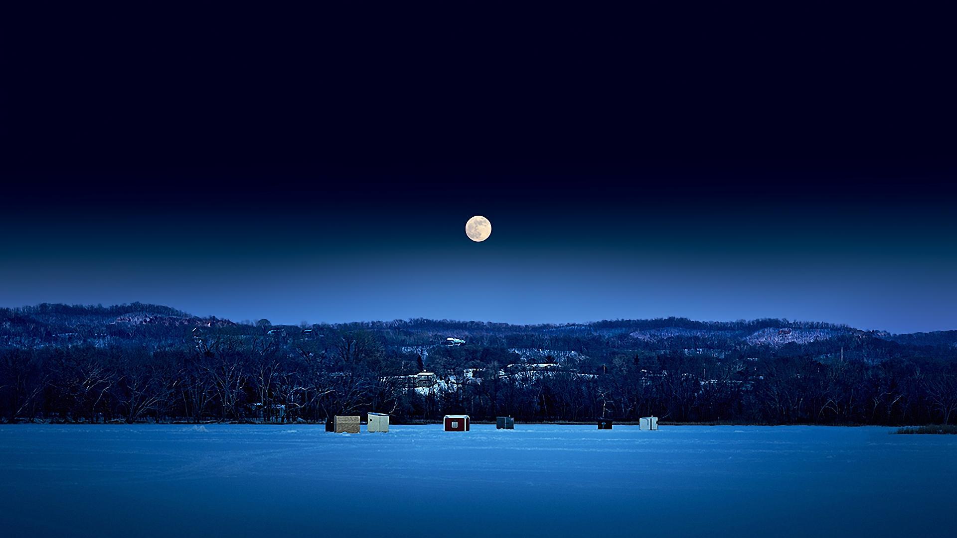 Wallpaper Full Moon Night Sky Ice Constructions 1920x1080