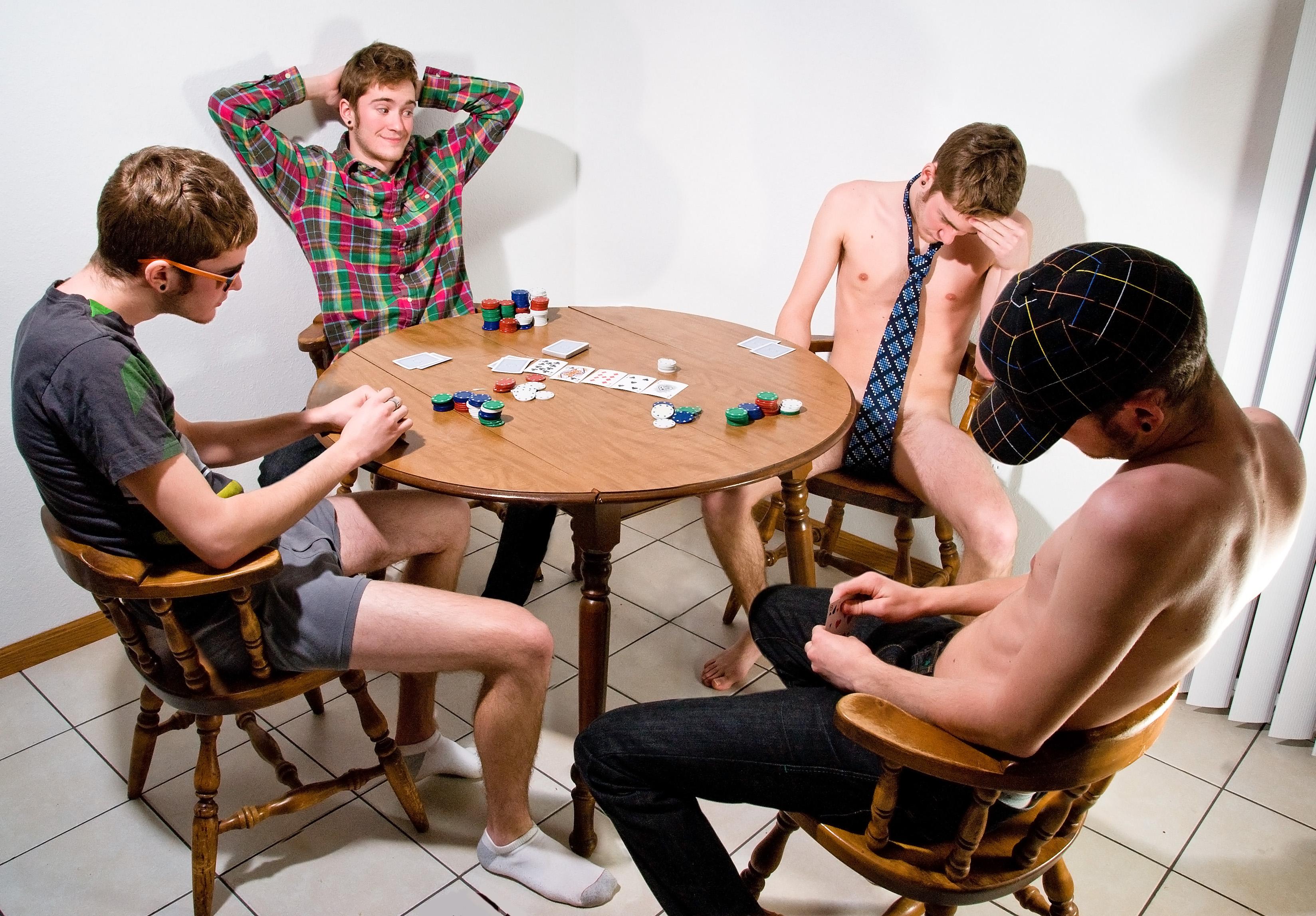 Guys playing strip poker and get hard