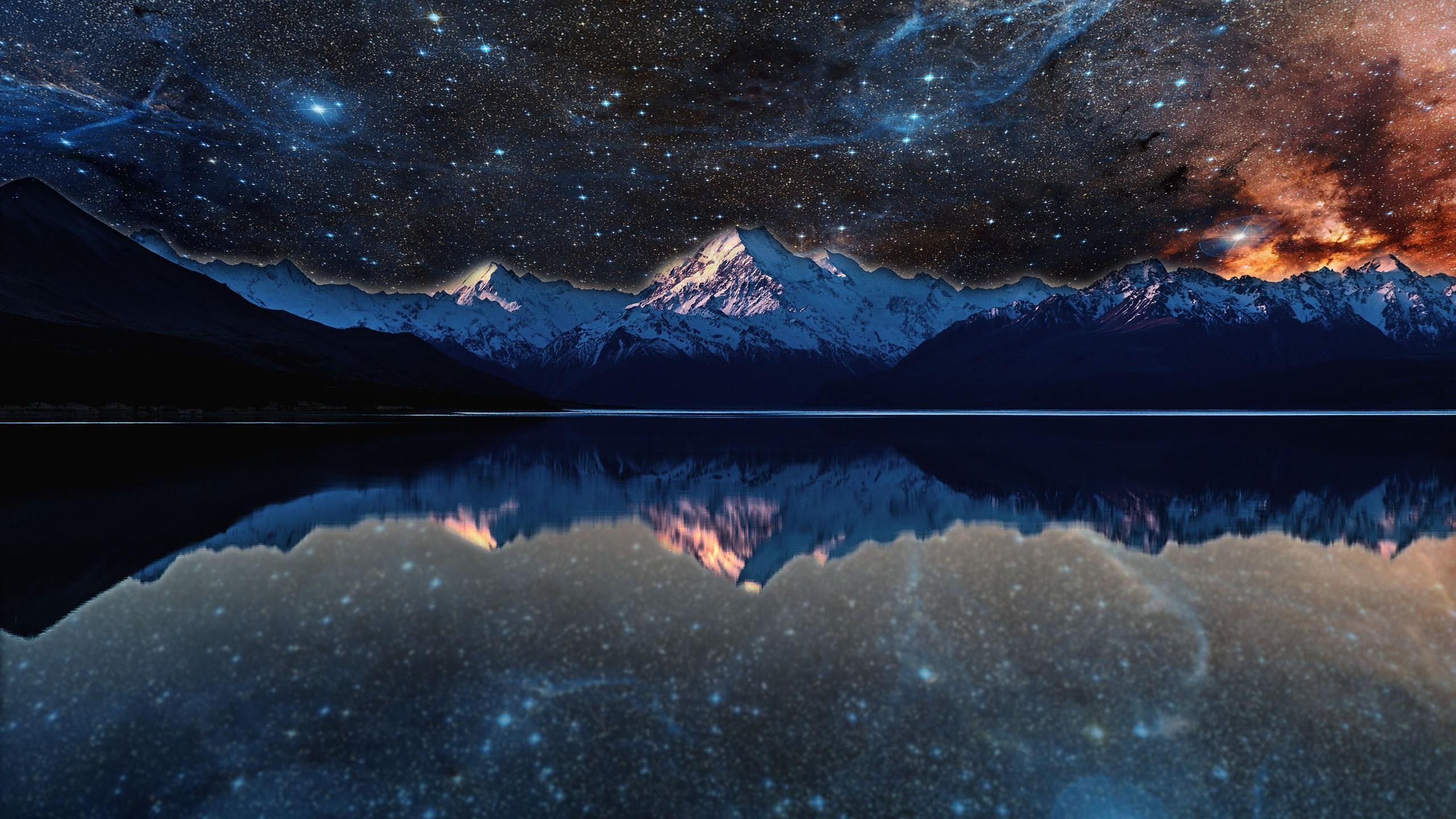 Wallpaper : galaxy, lake, water, reflection, sky, stars