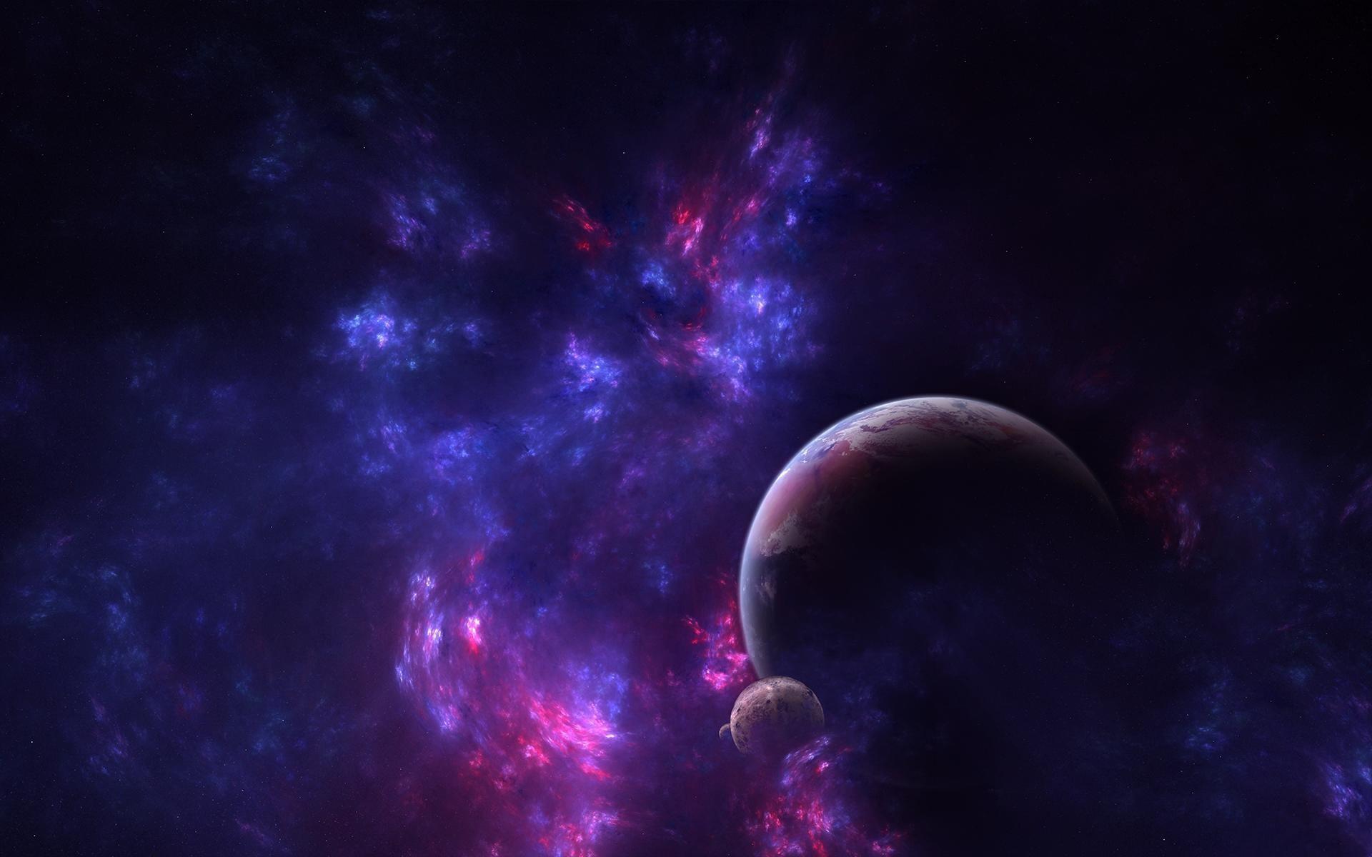3d wallpaper galaxy - Purple moon wallpaper ...
