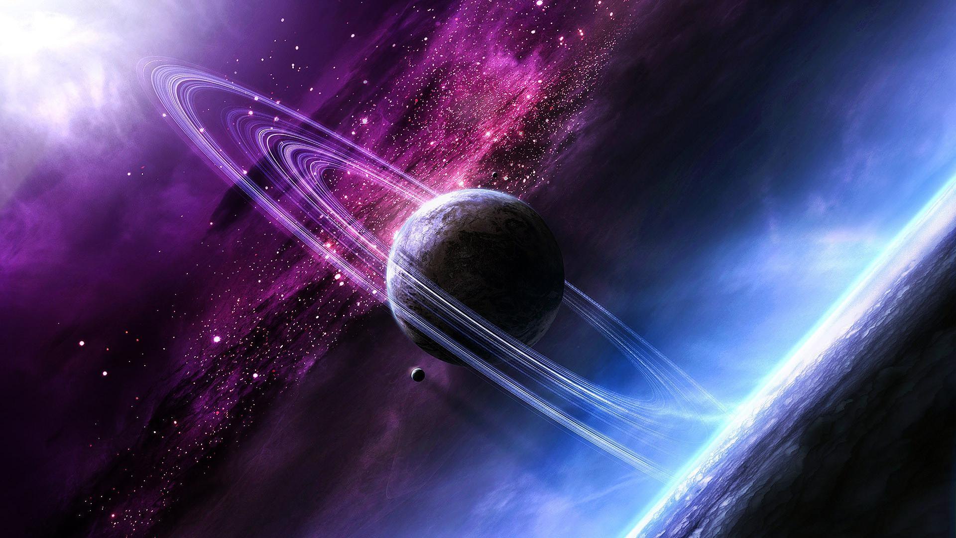 galaxy planet space vehicle purple stars nebula atmosphere planetary rings universe screenshot computer wallpaper atmosphere of