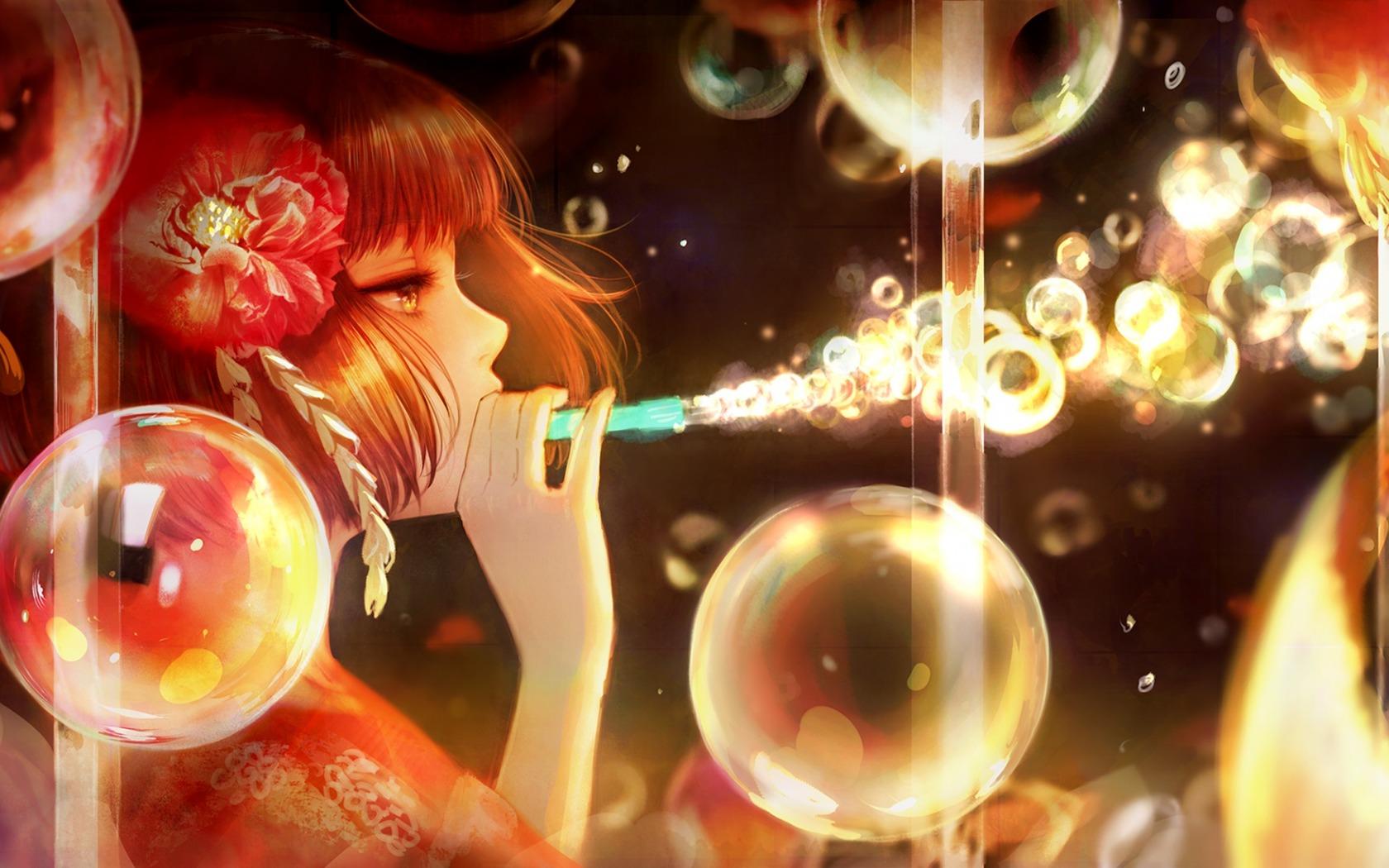 Wallpaper Girl Anime Soap Bubble 1680x1050 4kwallpaper